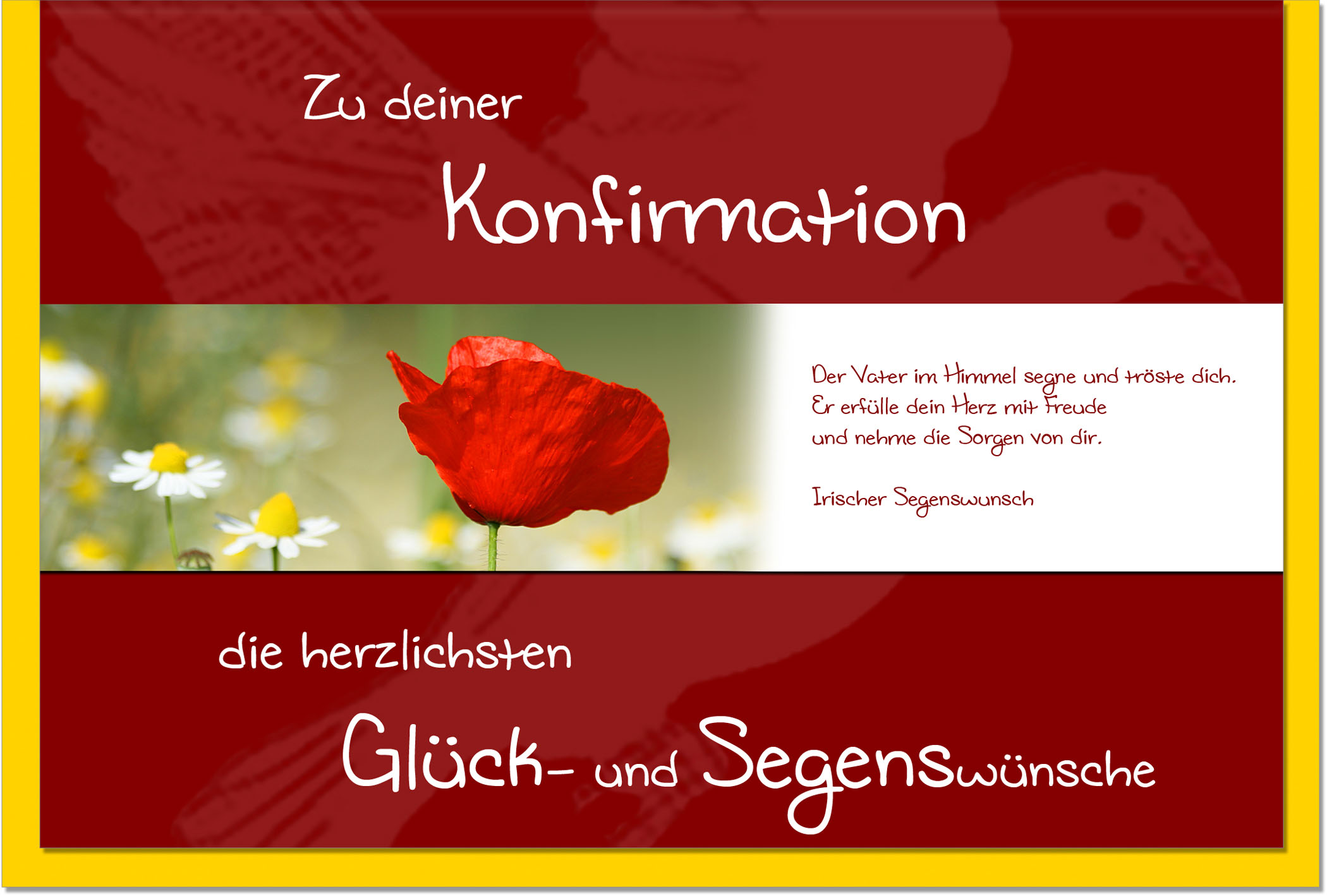 Konfirmationskarten / Grußkarten /Konfirmation Mohn