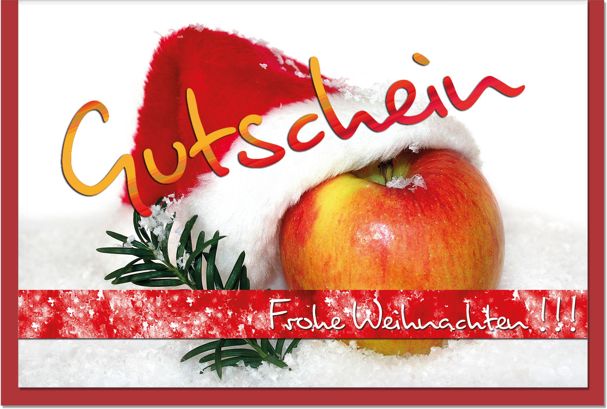 Weihnachtskarten / Grußkarten /Weihnachten Apfel mit Weihnachtsmütze