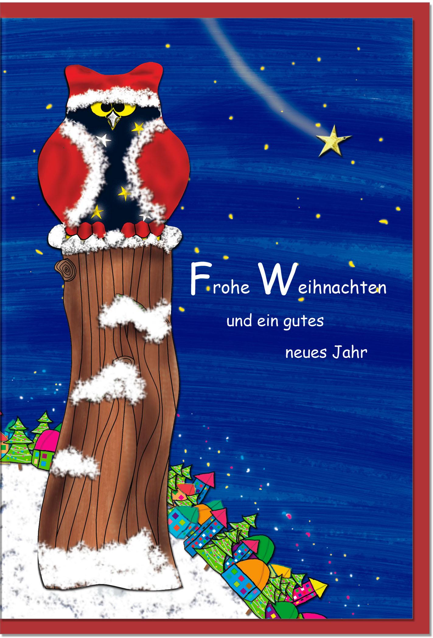 Weihnachtskarten / Grußkarten /Weihnachten Weihnachtliche Eule