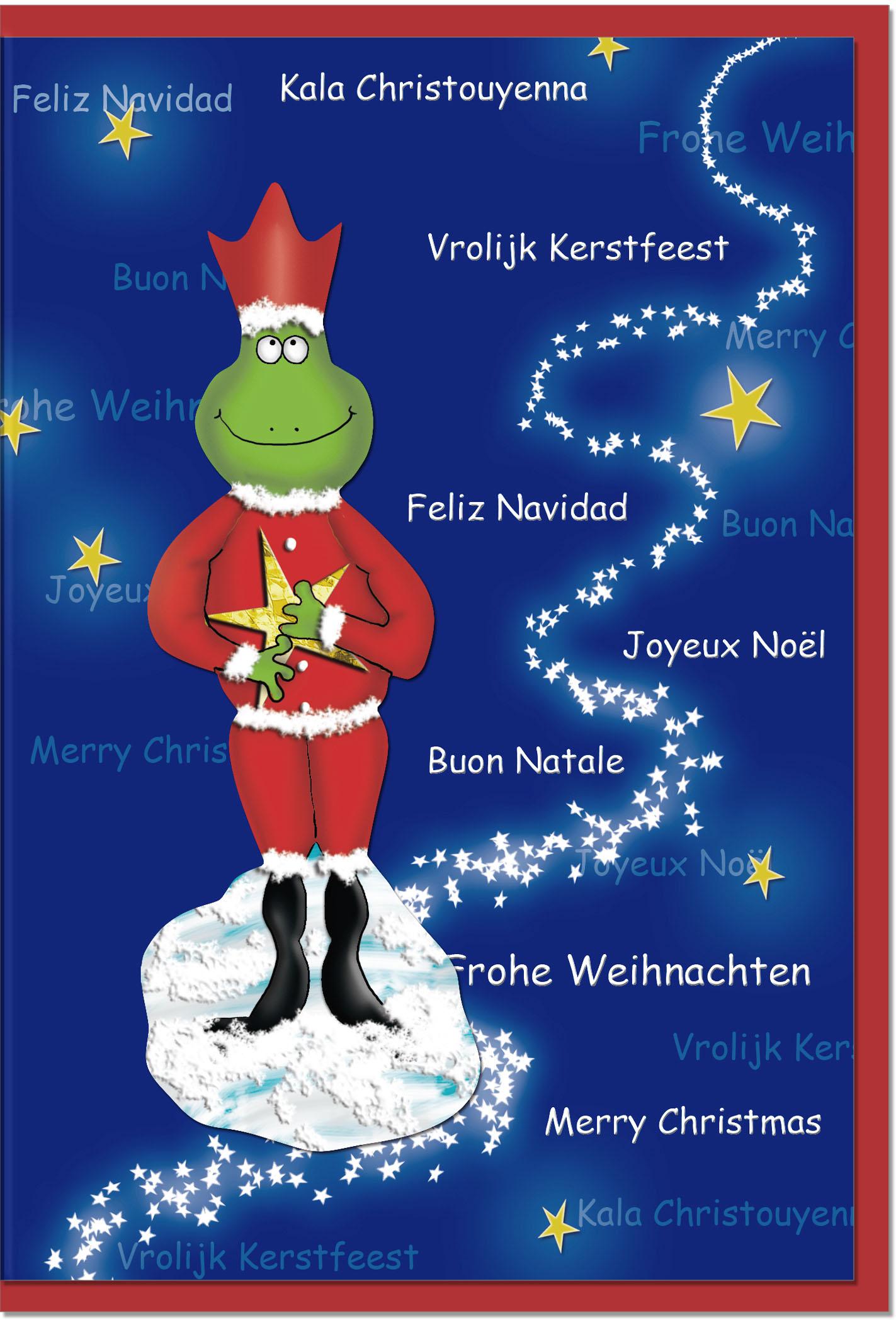 Weihnachtskarten / Grußkarten /Weihnachten Weihnachtlicher Frosch