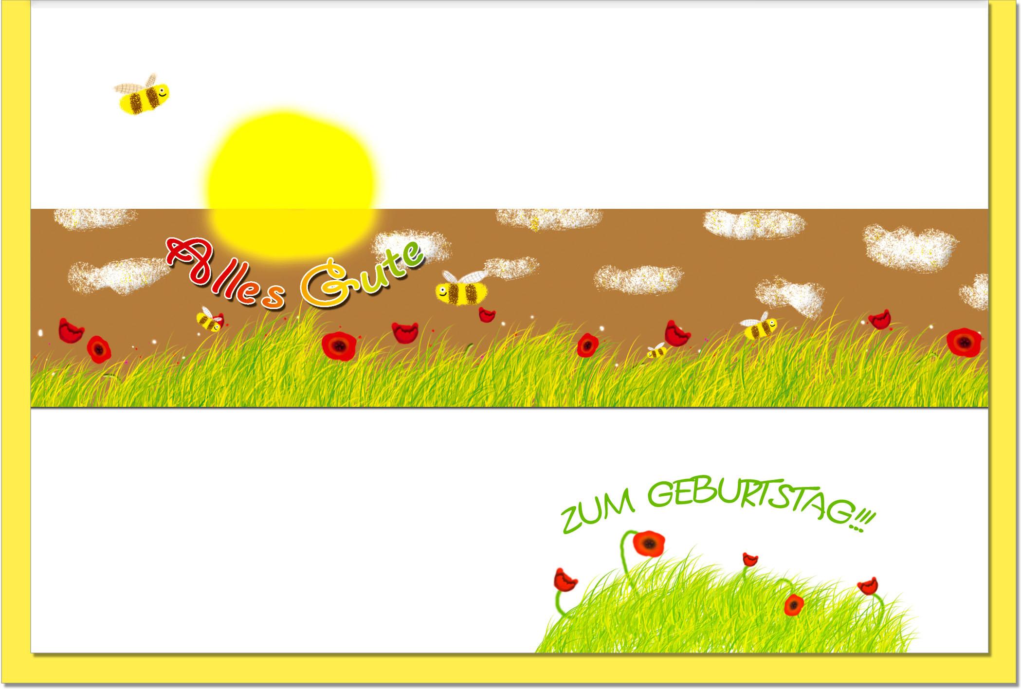 Geburtstagskarten / Grußkarten /Geburtstag Blumenwiese