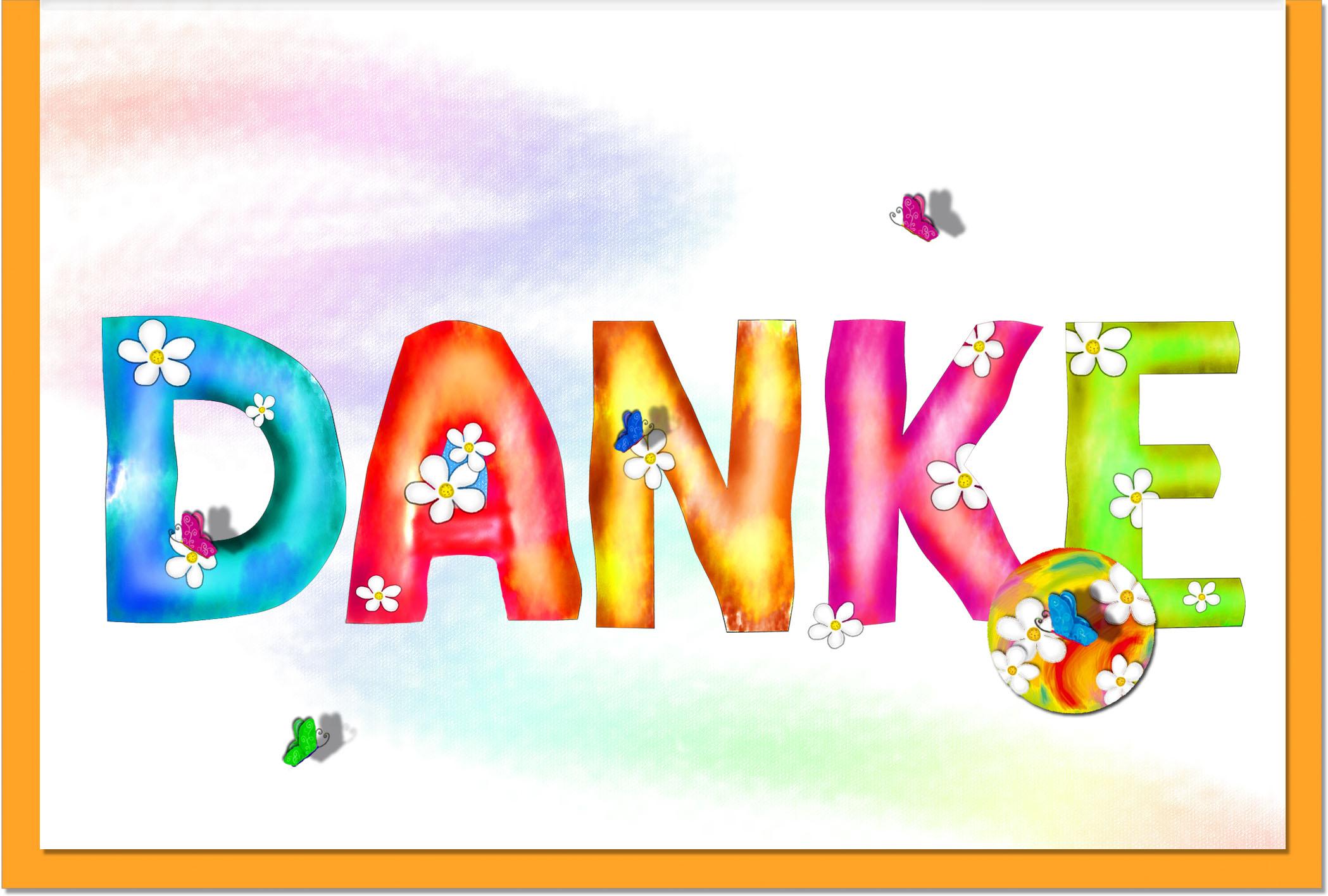 Dankeskarten / Grußkarten /Dankeschön Bunter Schriftzug