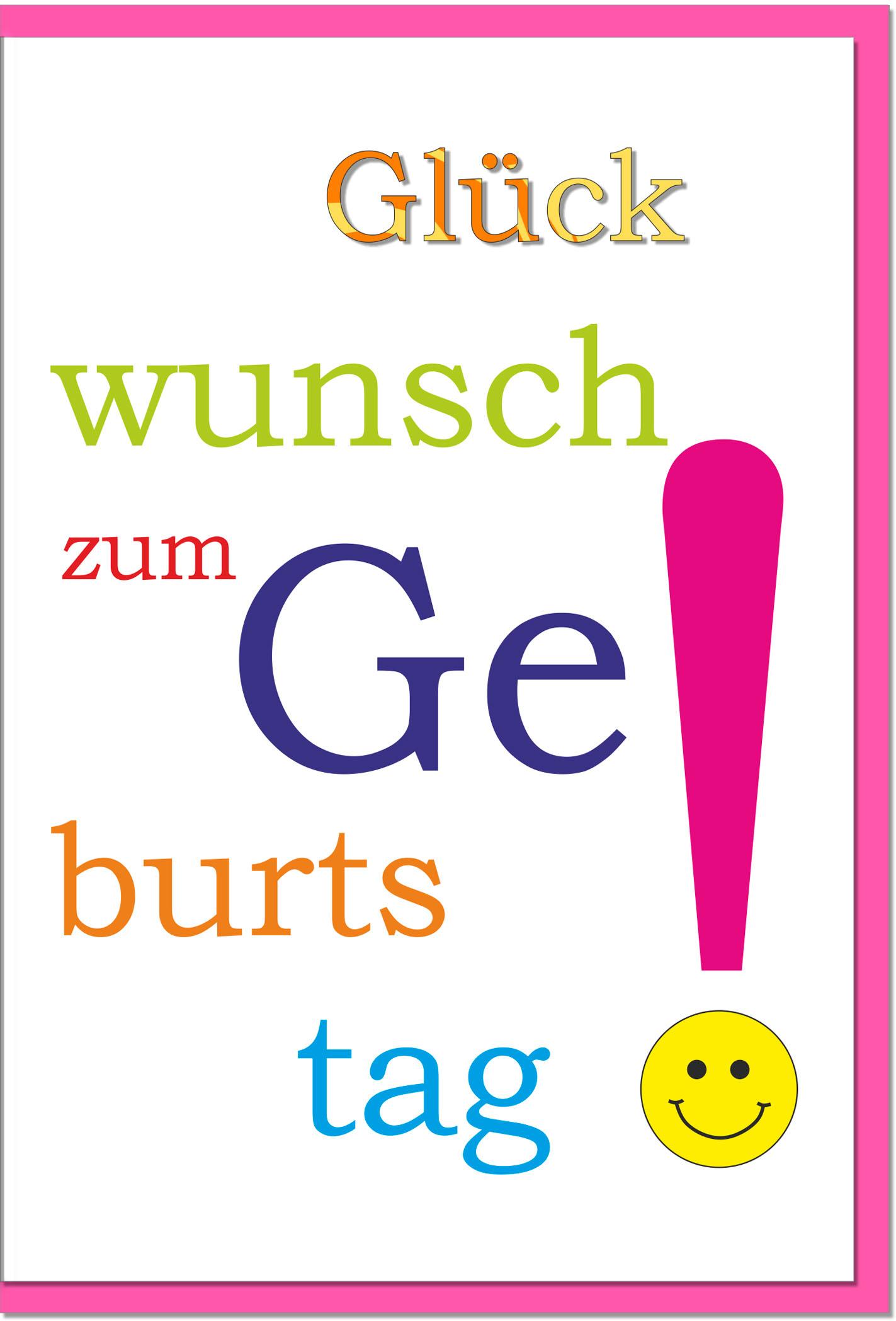 Geburtstagskarten / Grußkarten /Geburtstag Bunter Schriftzug