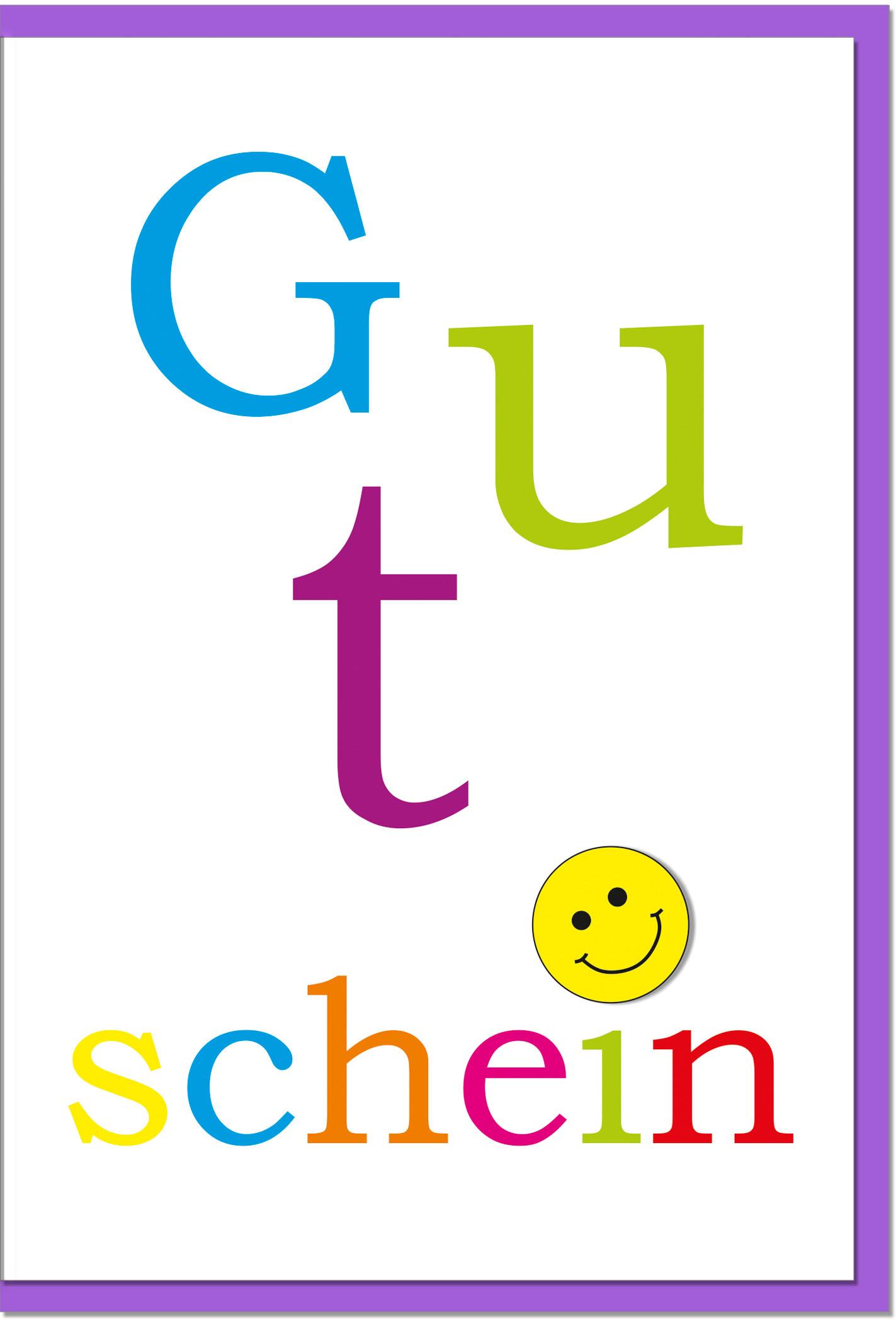 Gutscheinkarten / Grußkarten /Gutschein Bunter Schriftzug