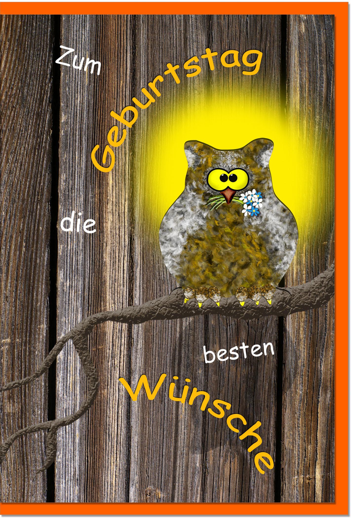 Geburtstagskarten / Grußkarten /Geburtstag Vogel mit Hut