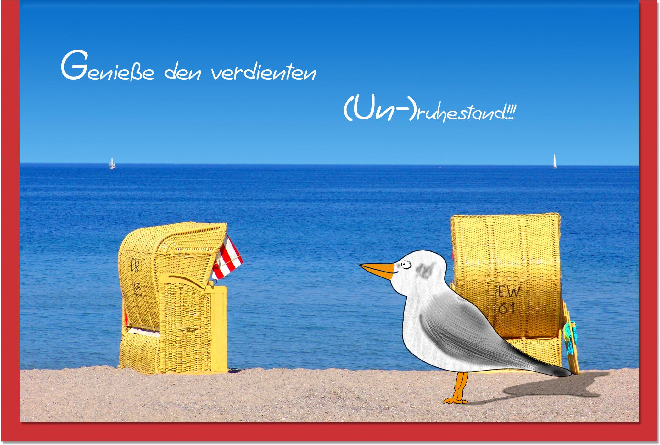 Ruhestand / Grußkarten /Ruhestand Möwe