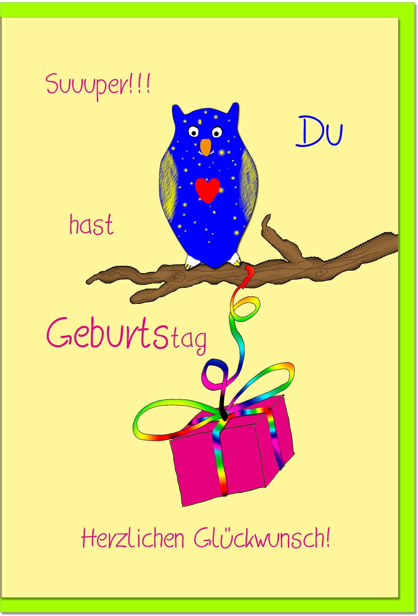 Geburtstagskarten / Grußkarten /Geburtstag Eule