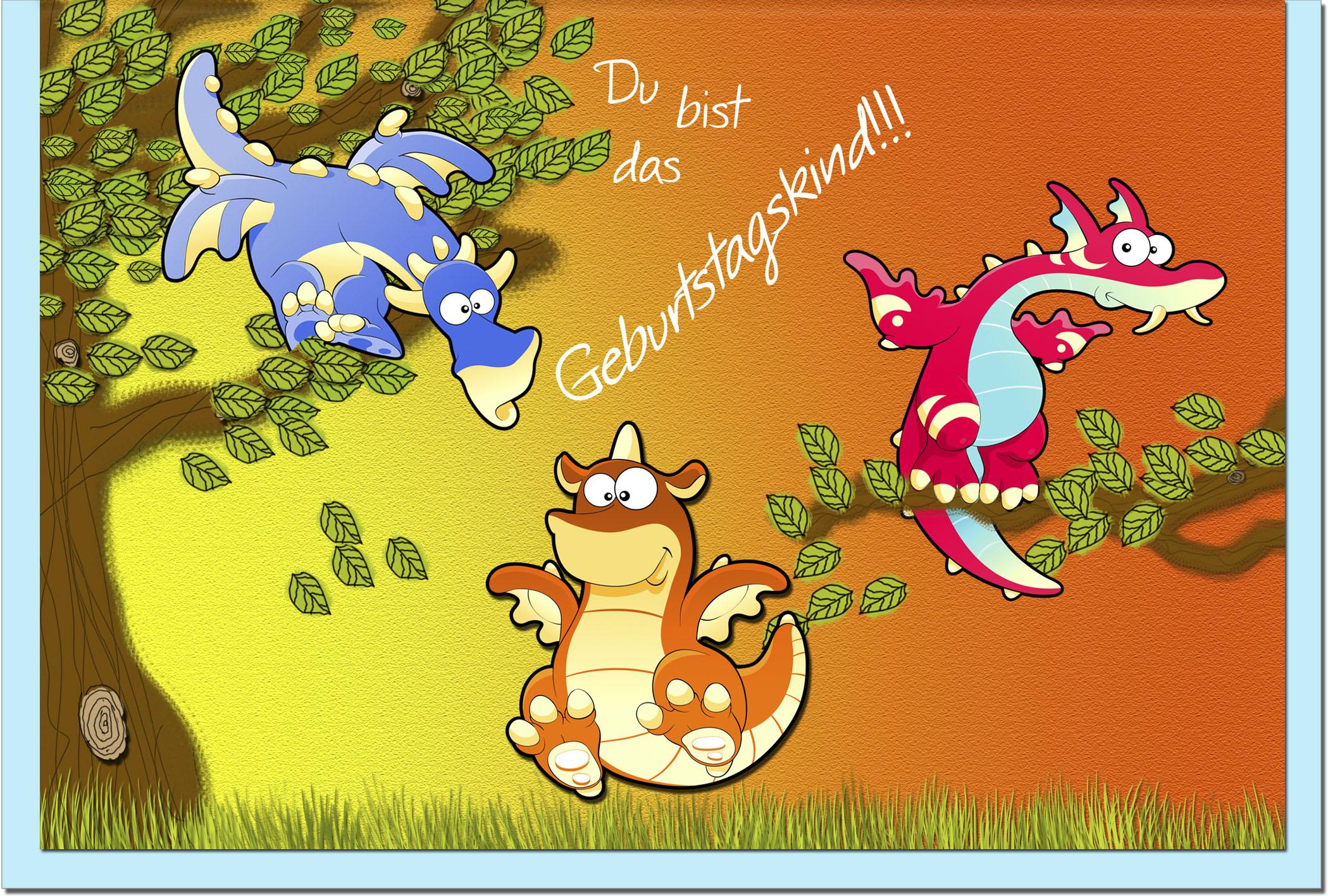 Kindergeburtstagskarten / Grußkarten /Kindergeburtstag Drachen
