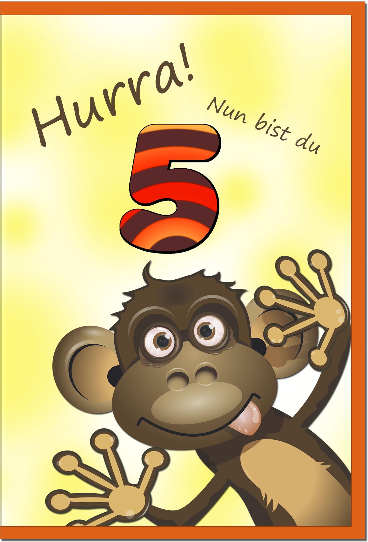 Zahlenkarten / Grußkarten /Zahlenkarte Affe