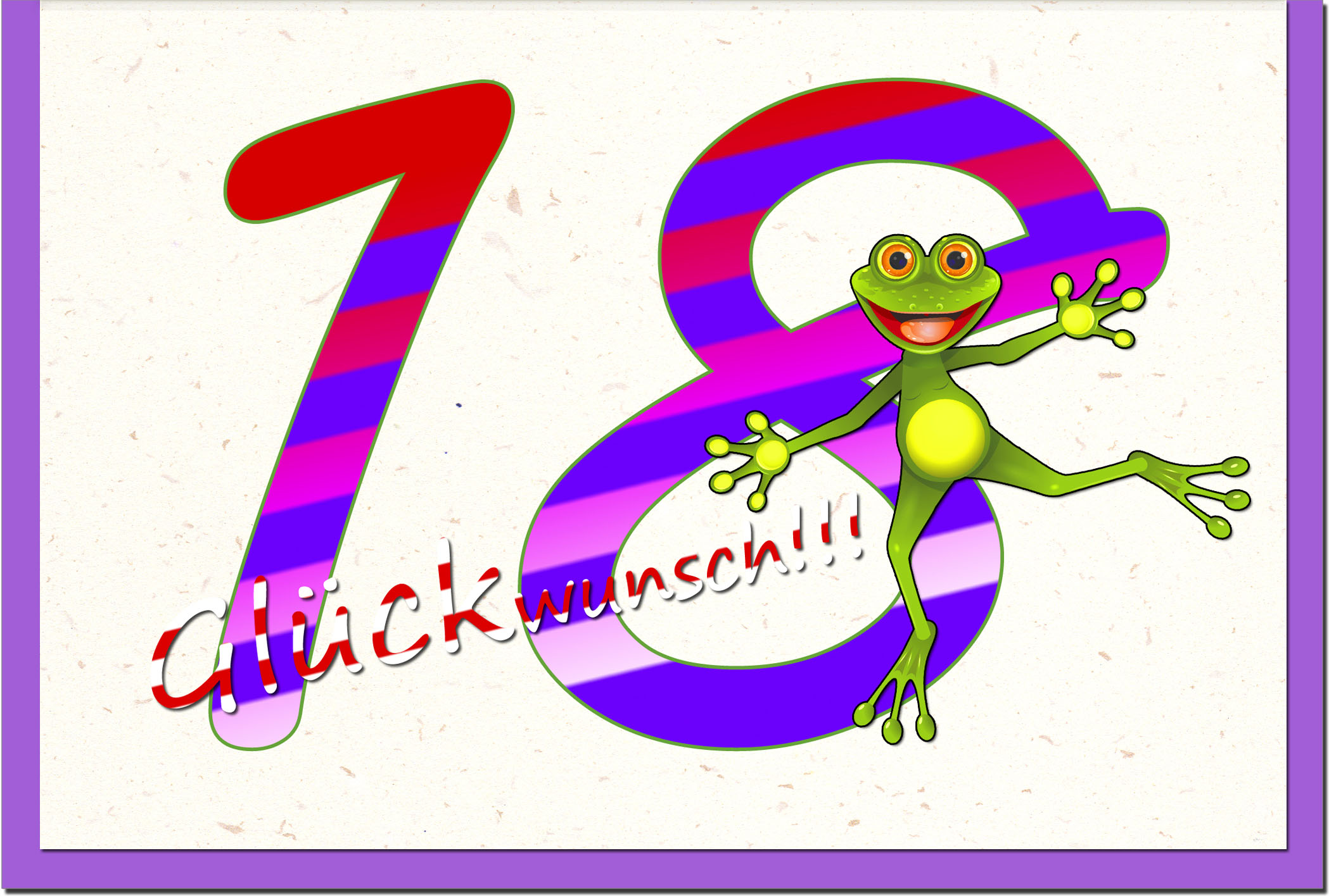 Zahlenkarten / Grußkarten /Zahlenkarte Frosch