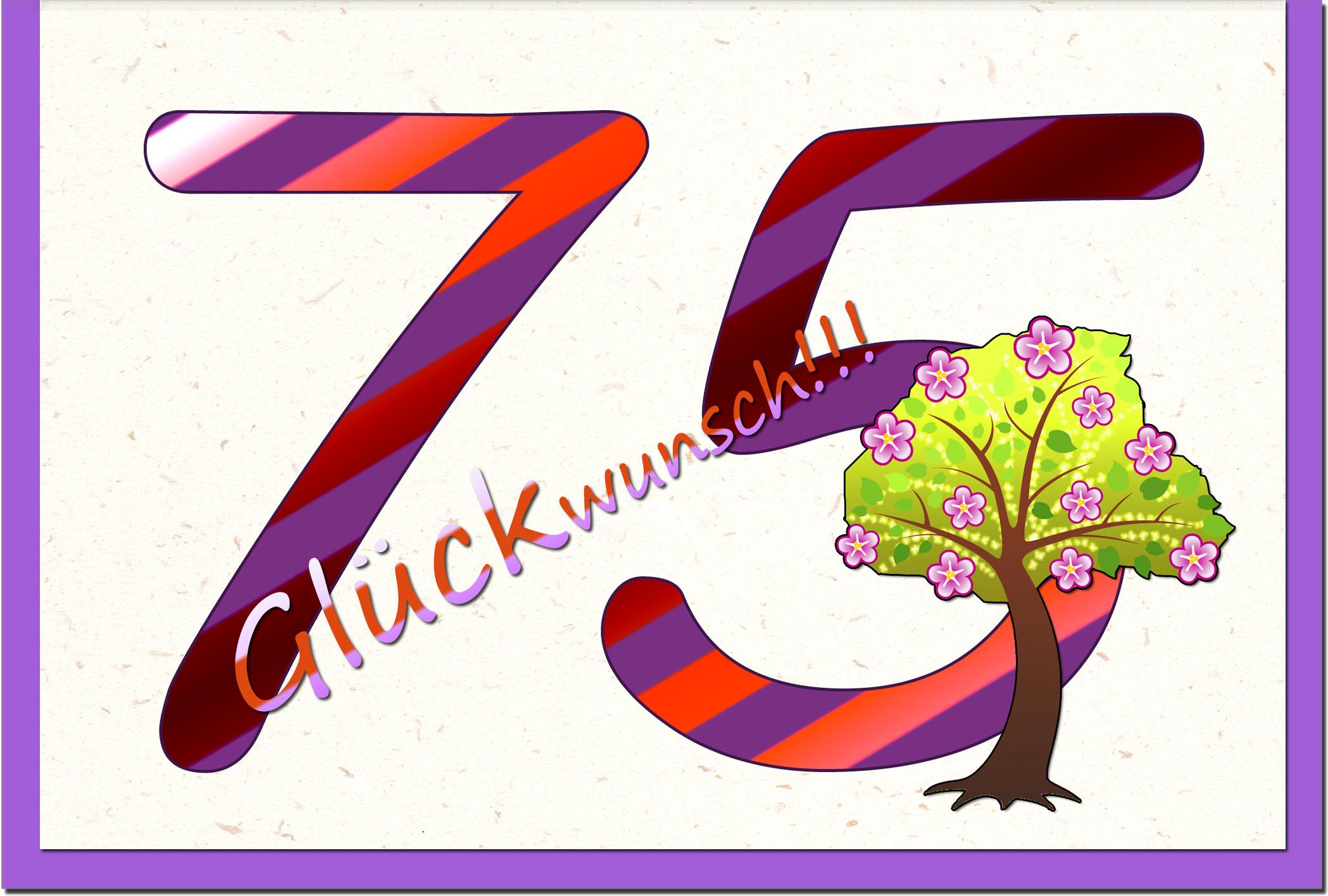 Zahlenkarten / Grußkarten /Zahlenkarte Baum