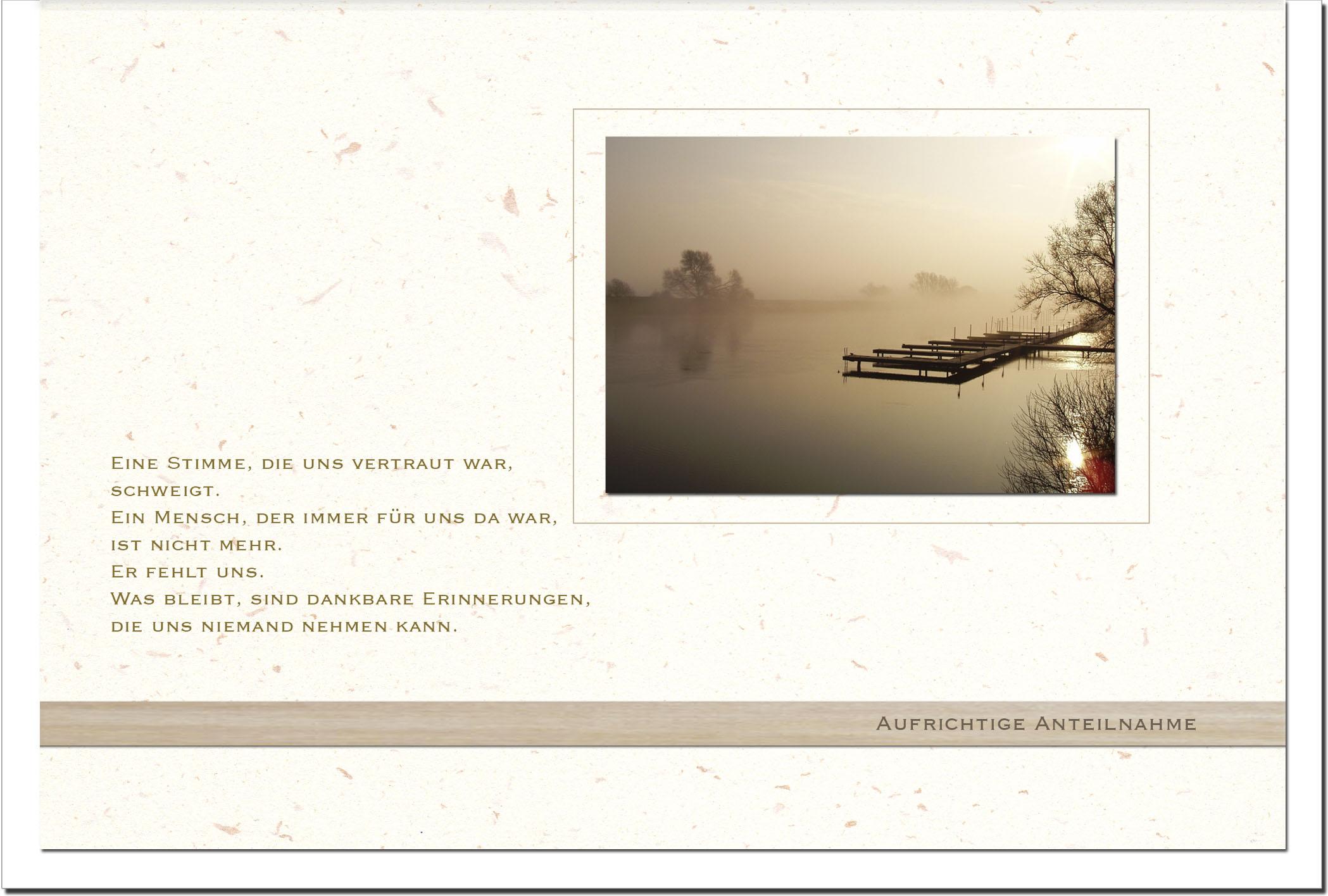 Kondolenzkarte ERINNERUNG | Steg im Nebel | metALUm #00561