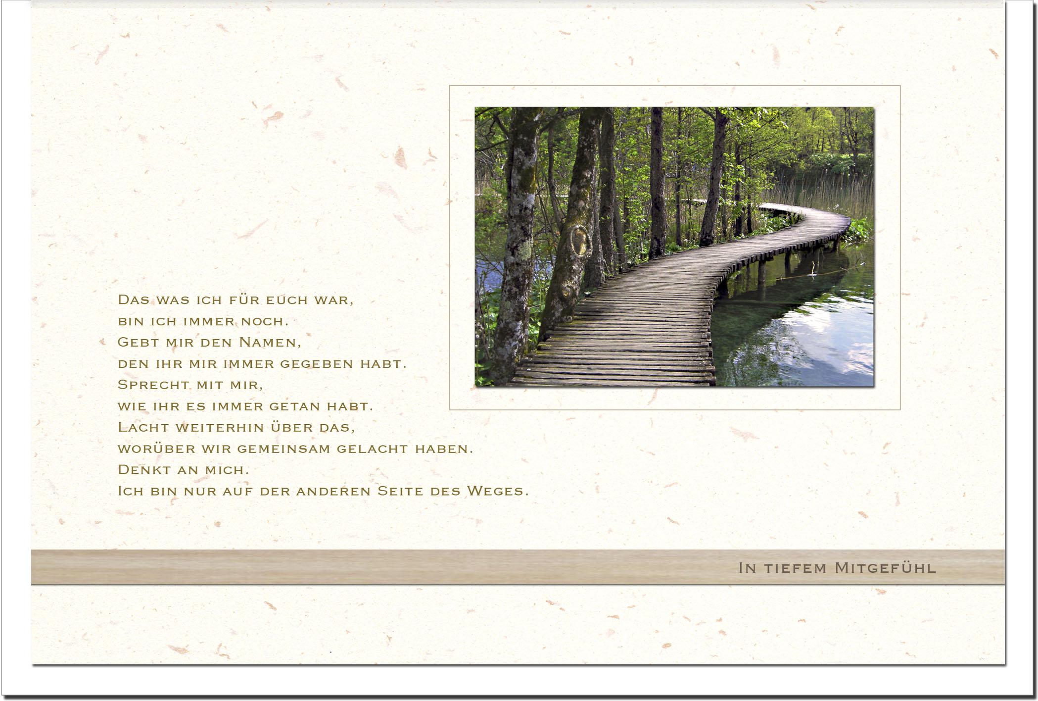 Trauerkarte ERINNERUNG | Brücke | metALUm #00562