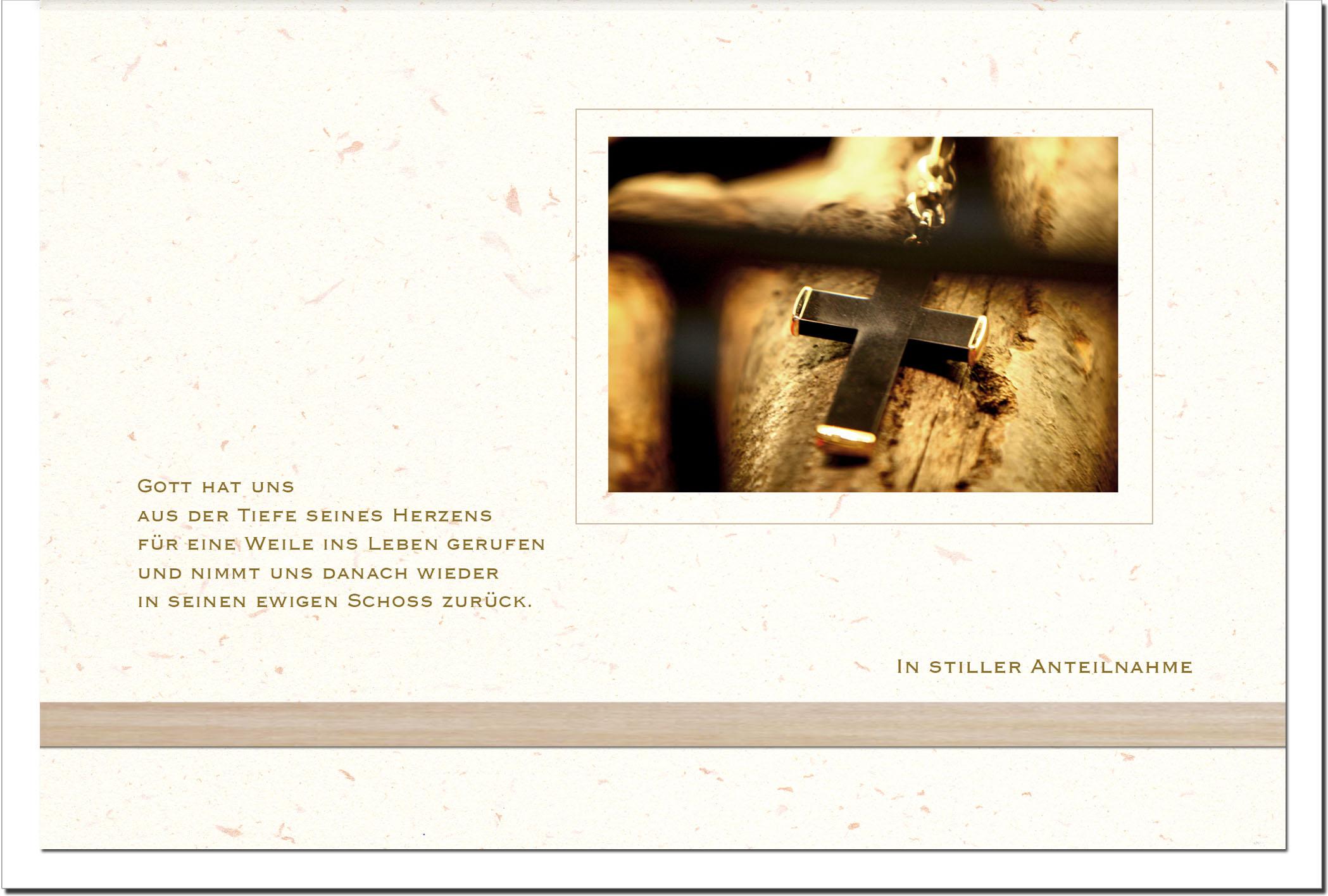 Trauerkarten IN GOTTES HAND | Kreuz | metALUm #00565