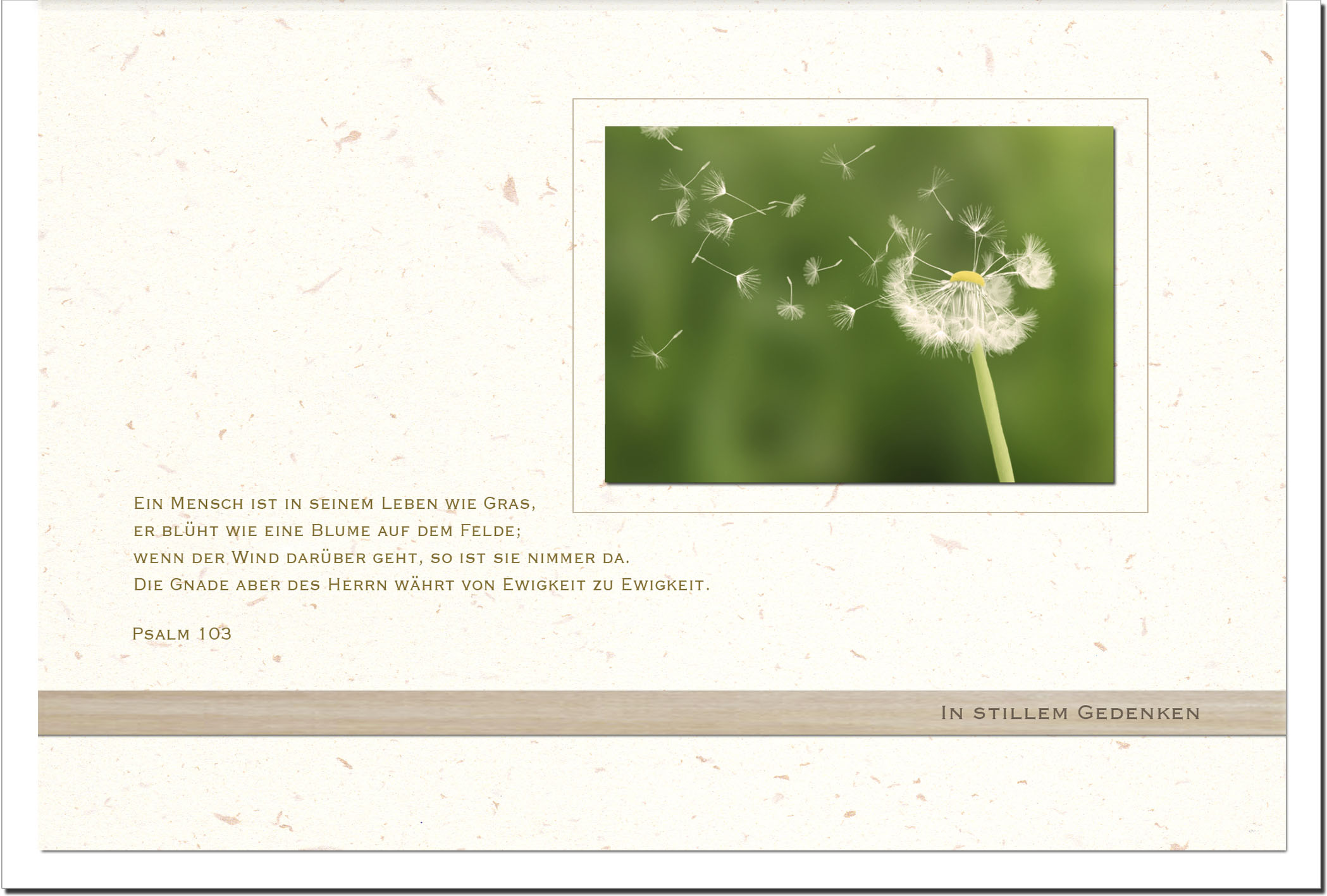 Beileidskarte IN GOTTES HAND | Pusteblume | metALUm #00568