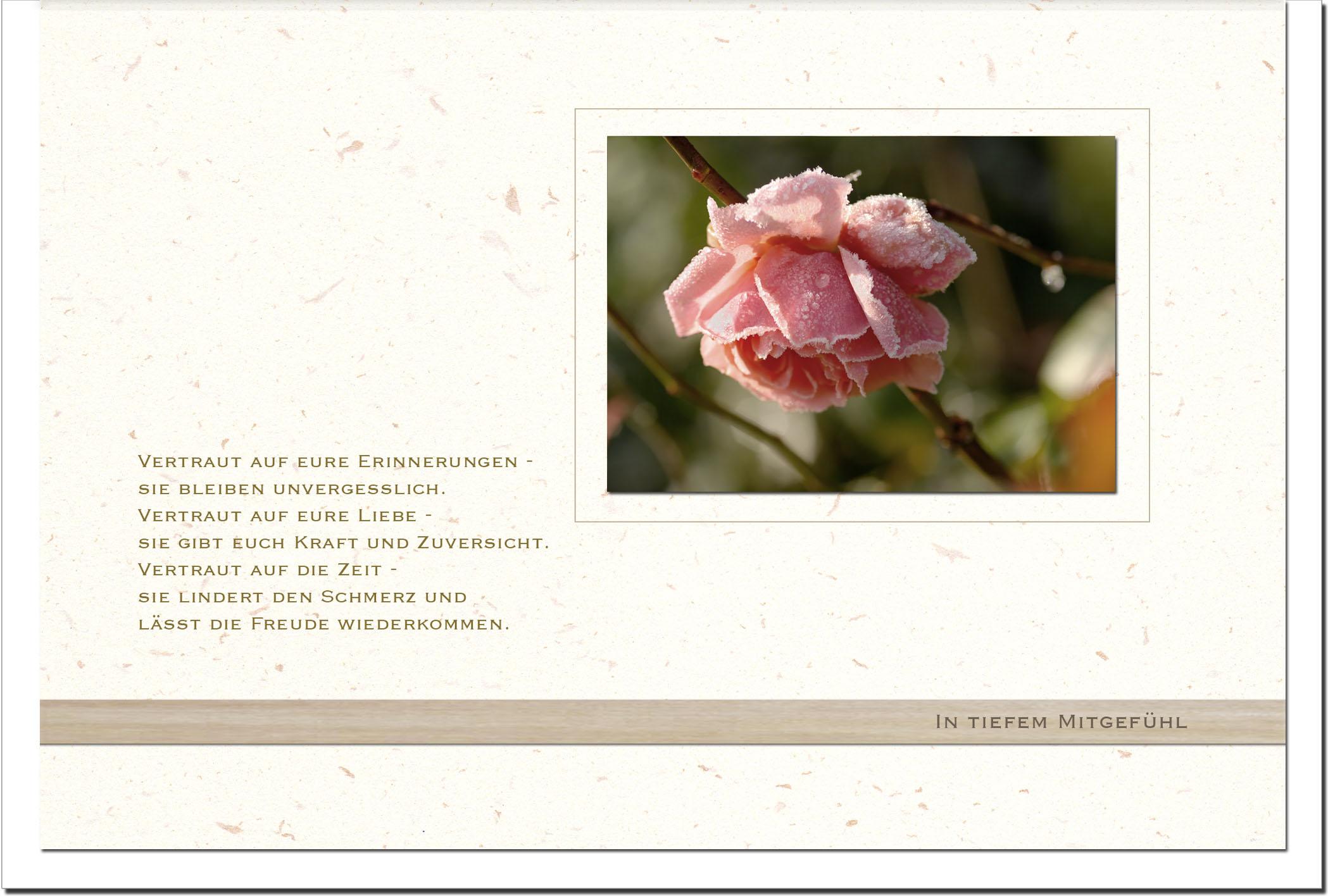 Trauerkarte ERINNERUNG | Verblühte Rose | metALUm #00569