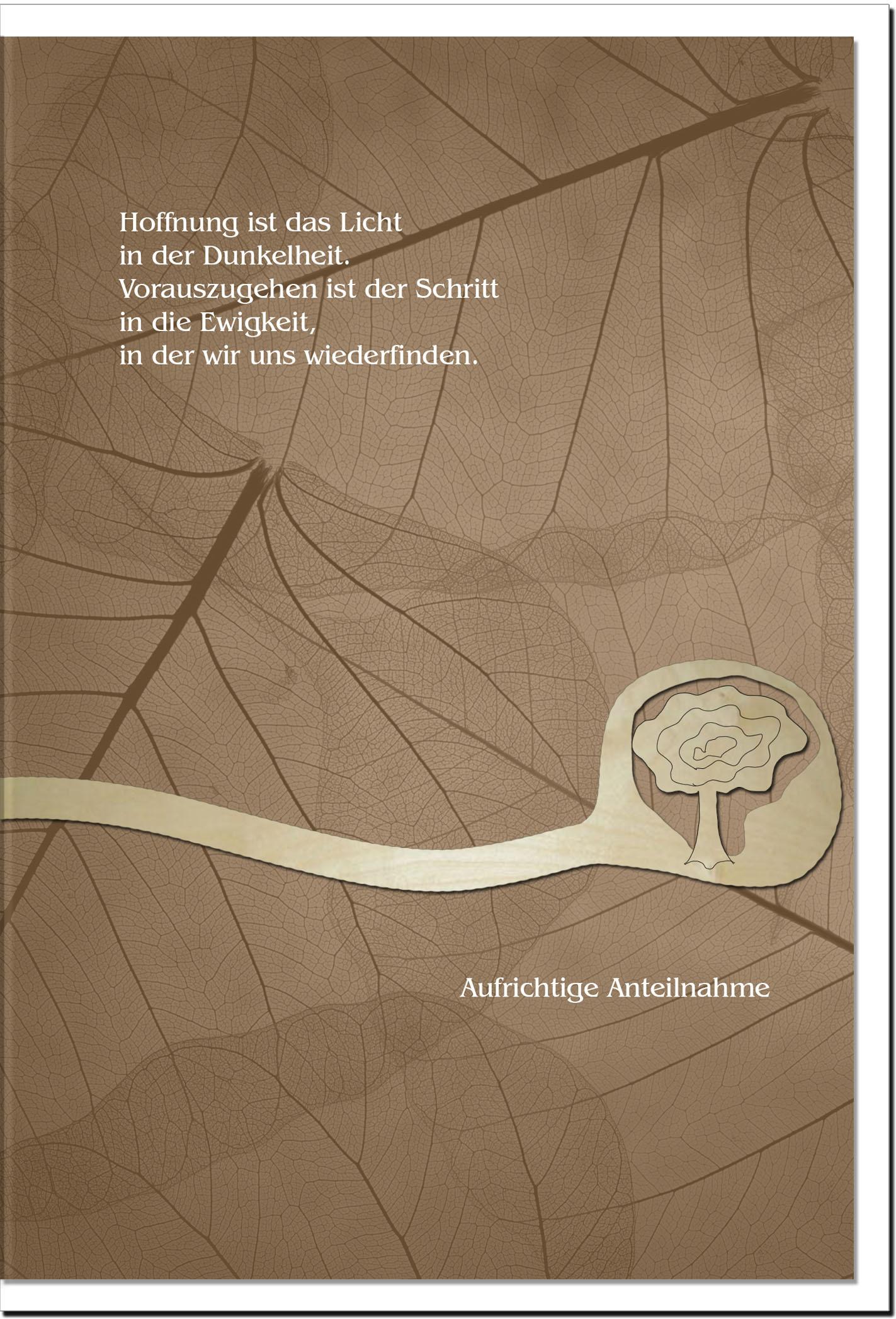 Trauerkarte HOFFNUNG | Baum | metALUm #00570