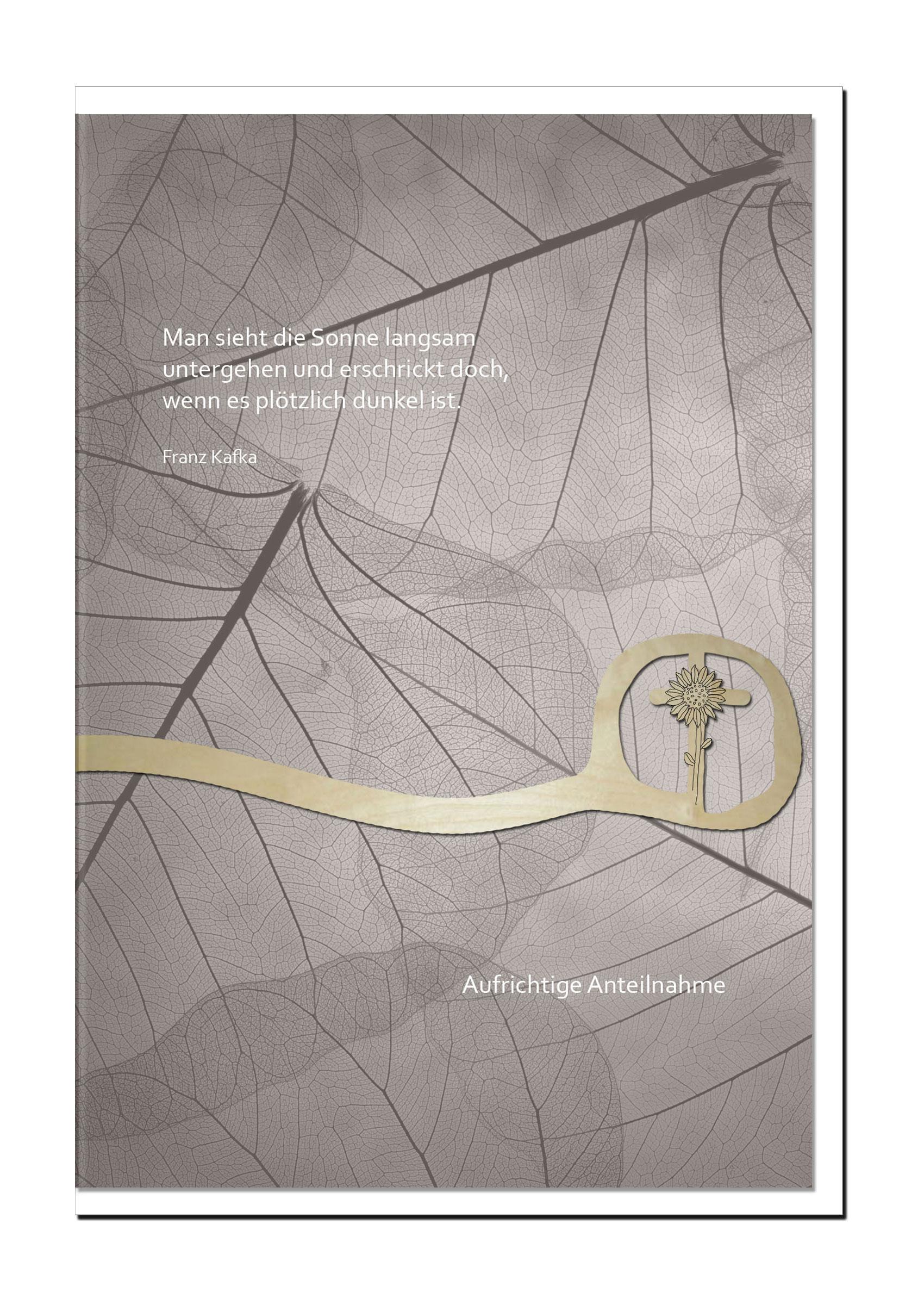 Beileidskarte ABSCHIED | Kreuz mit Sonnenblume | metALUm #00572