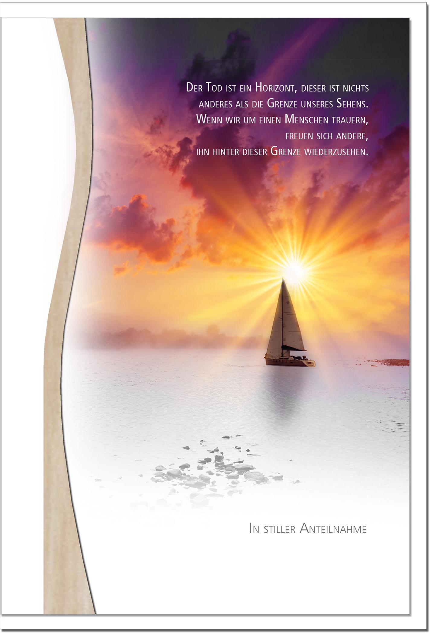 Trauerkarte WIEDERSEHEN | Schiff im Sonennuntergang | metALUm #01336