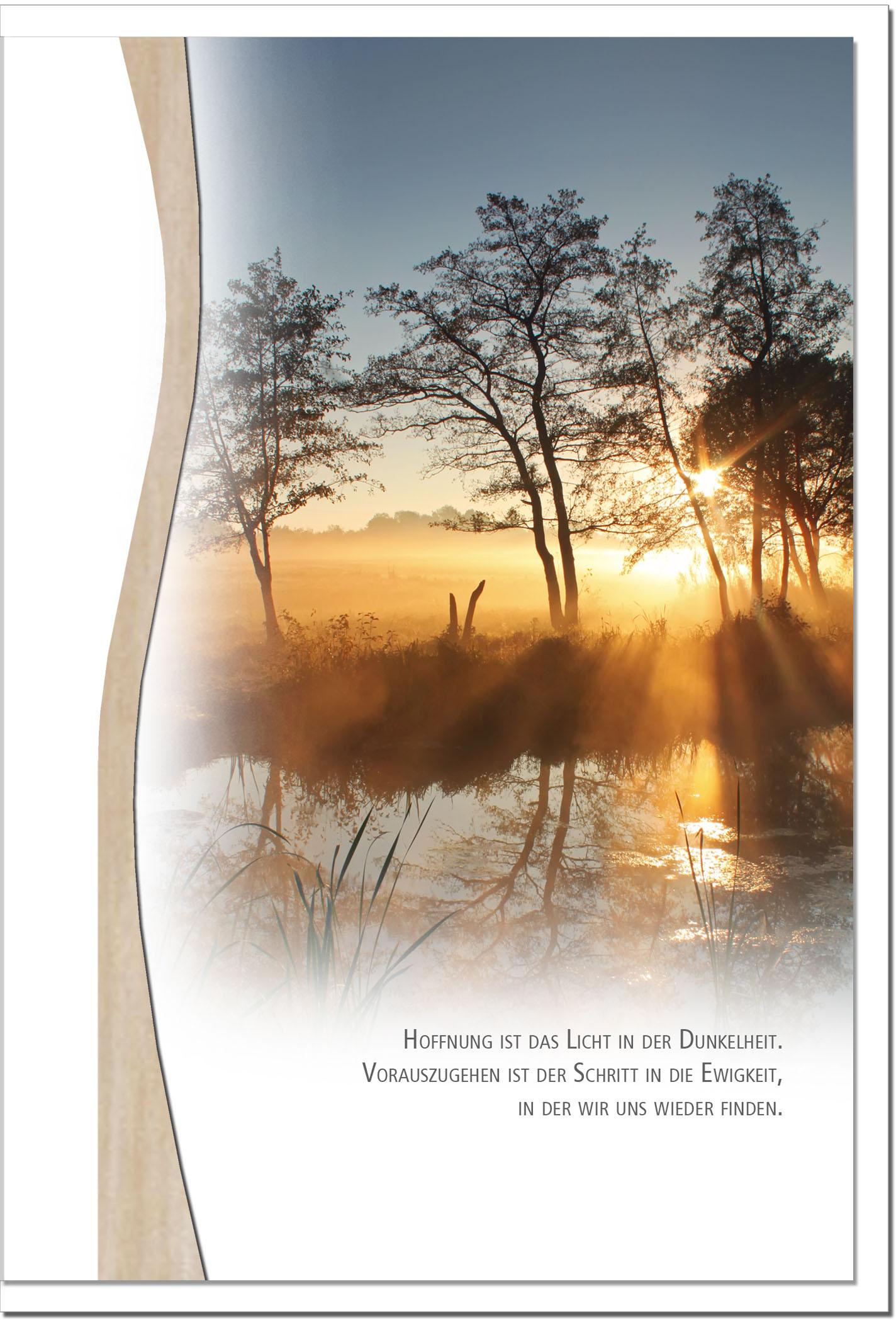 Trauerkarte HOFFNUNG | Sonnenuntergang am See | metALUm #01339