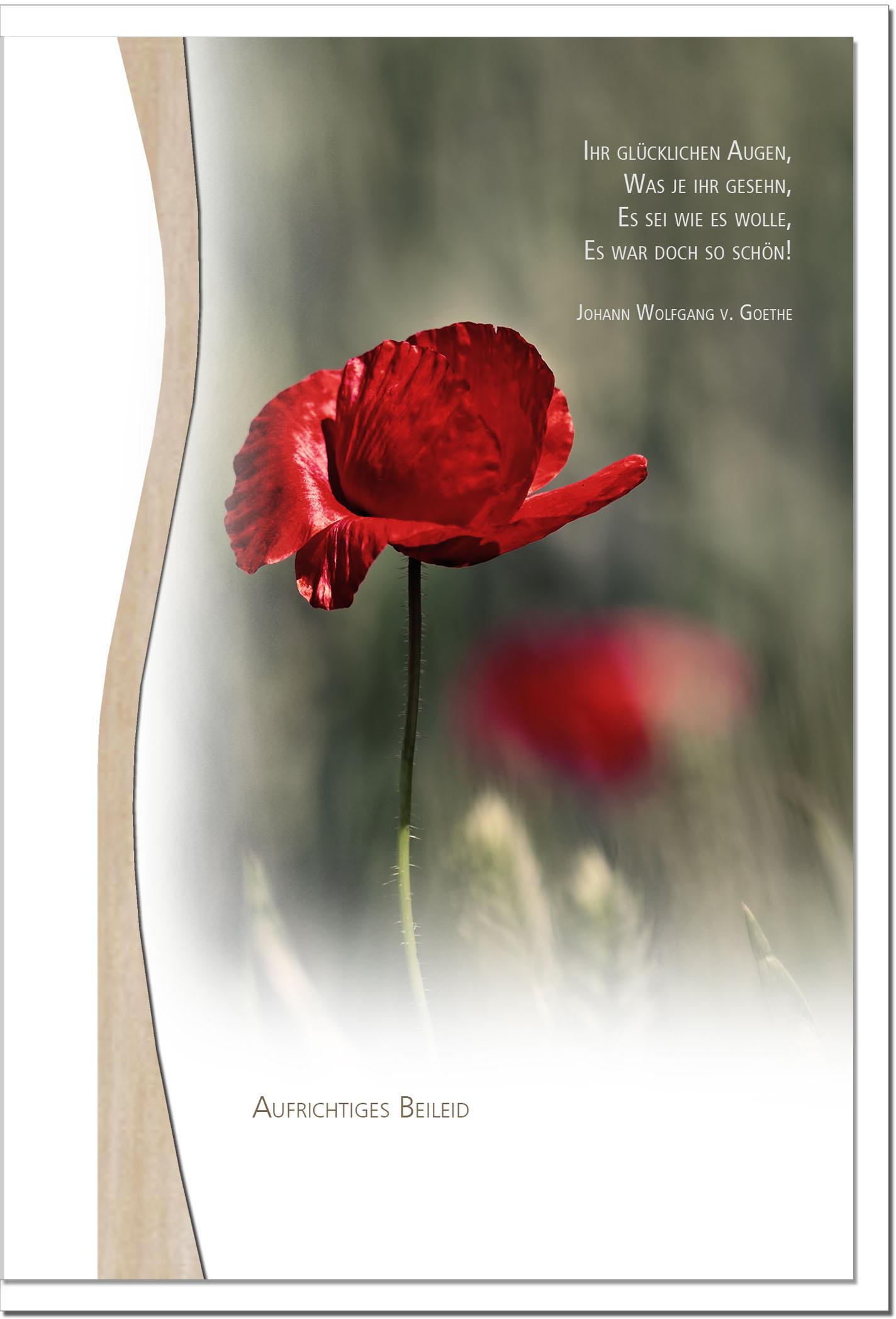Trauerkarte ERINNERUNG | Mohn | metALUm #01340
