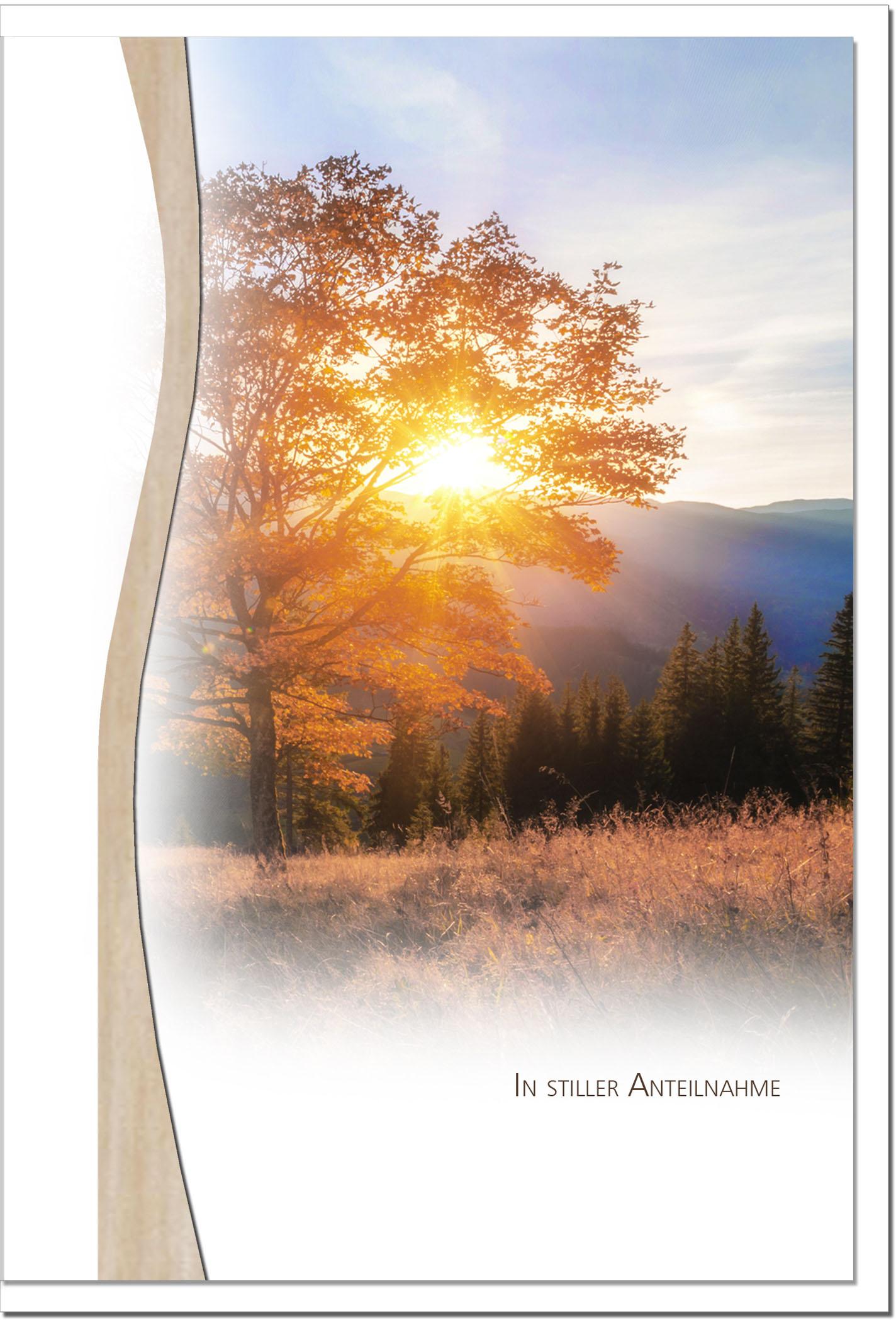 Trauerkarte ABSCHIED | Baum im Sonnenuntergang | metALUm #01342