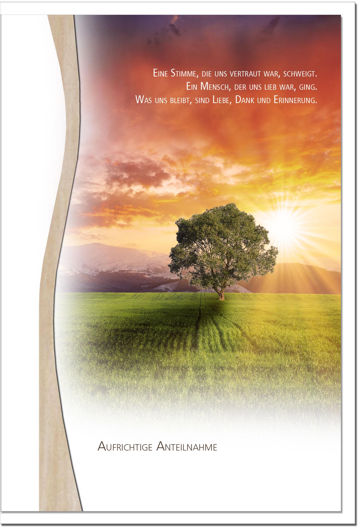 Trauerkarte ERINNERUNG | Baum im Sonnenuntergang | metALUm #01344