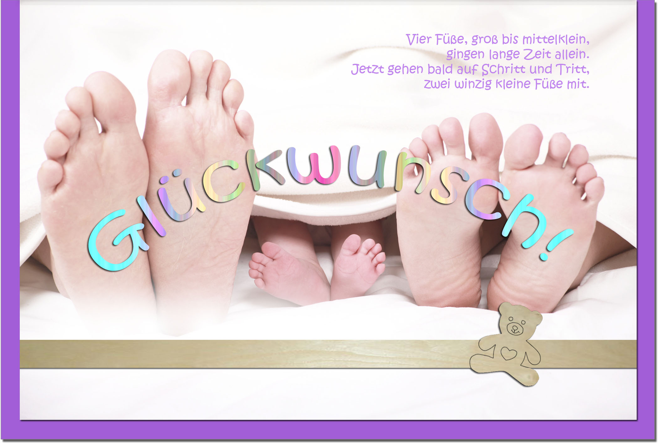Geburtskarten / Grußkarten /Geburt Füße