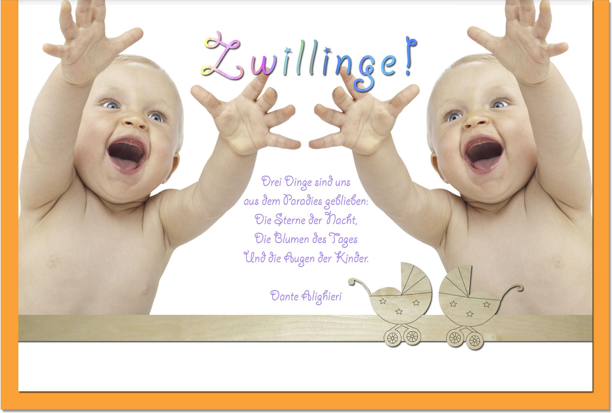 Geburtskarten / Grußkarten /Geburt Zwei Babys