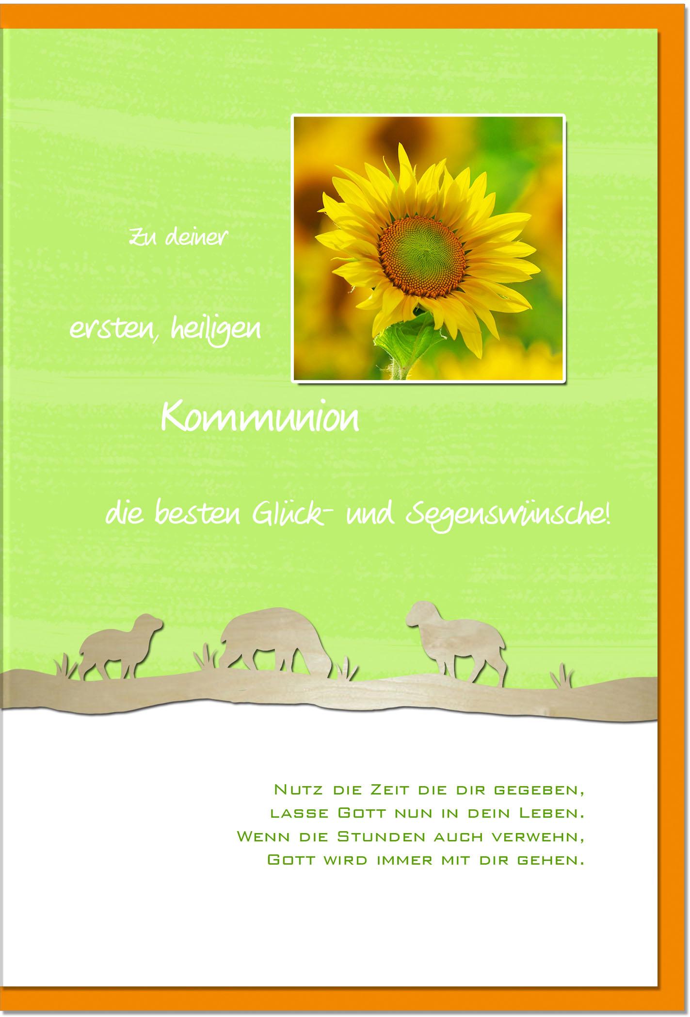 Kommunionskarten / Grußkarten /Kommunion Sonnenblume