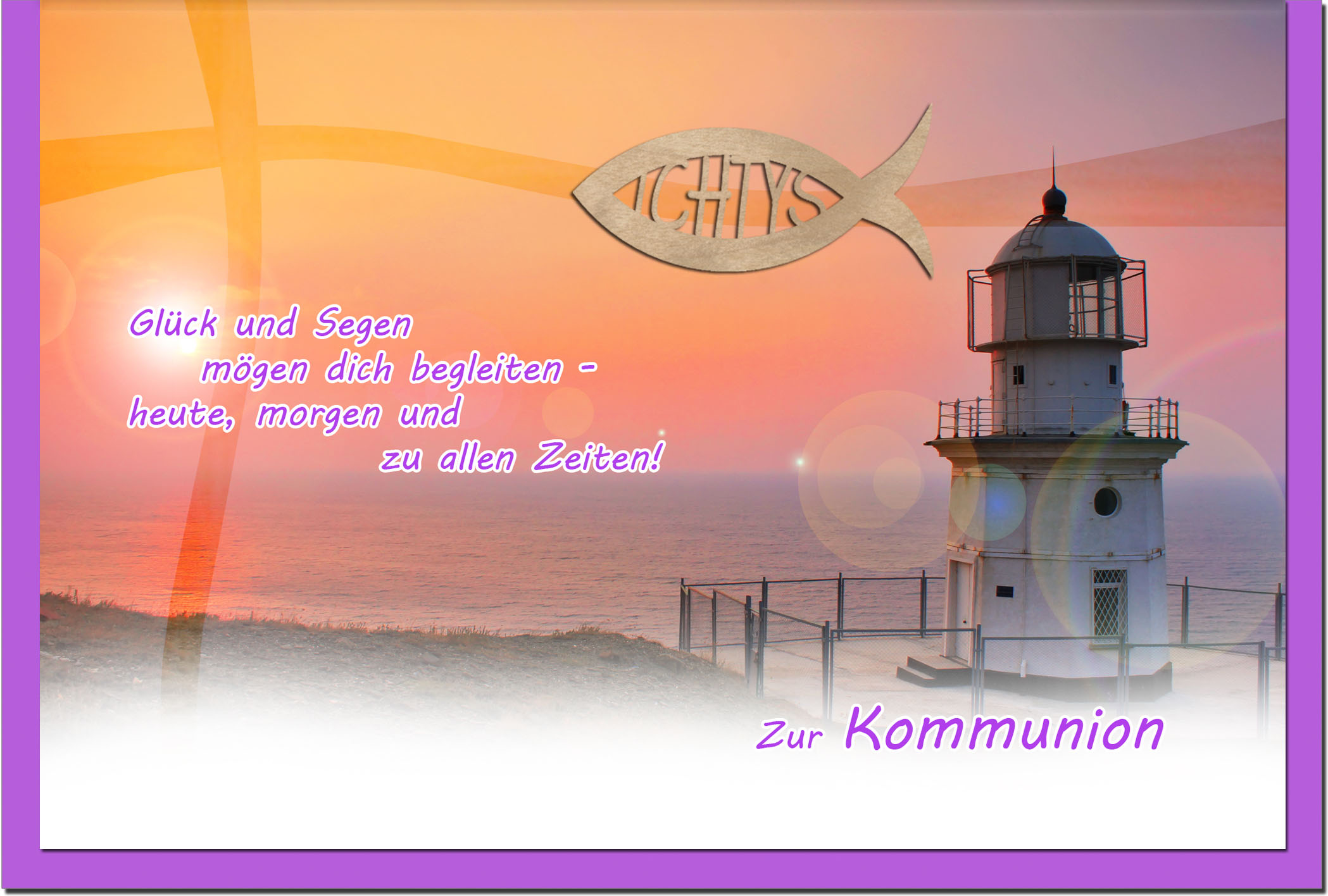 Kommunionskarten / Grußkarten / Glückwunschkarten /Kommunion Leuchtturm
