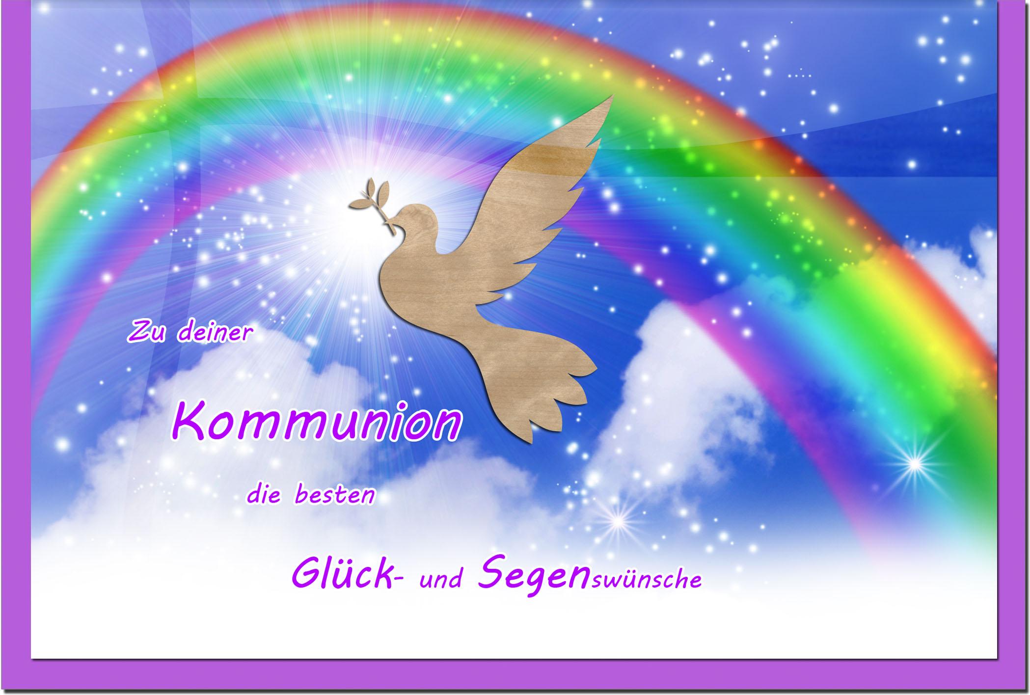 Kommunionskarten / Grußkarten / Glückwunschkarten /Kommunion Regenbogen