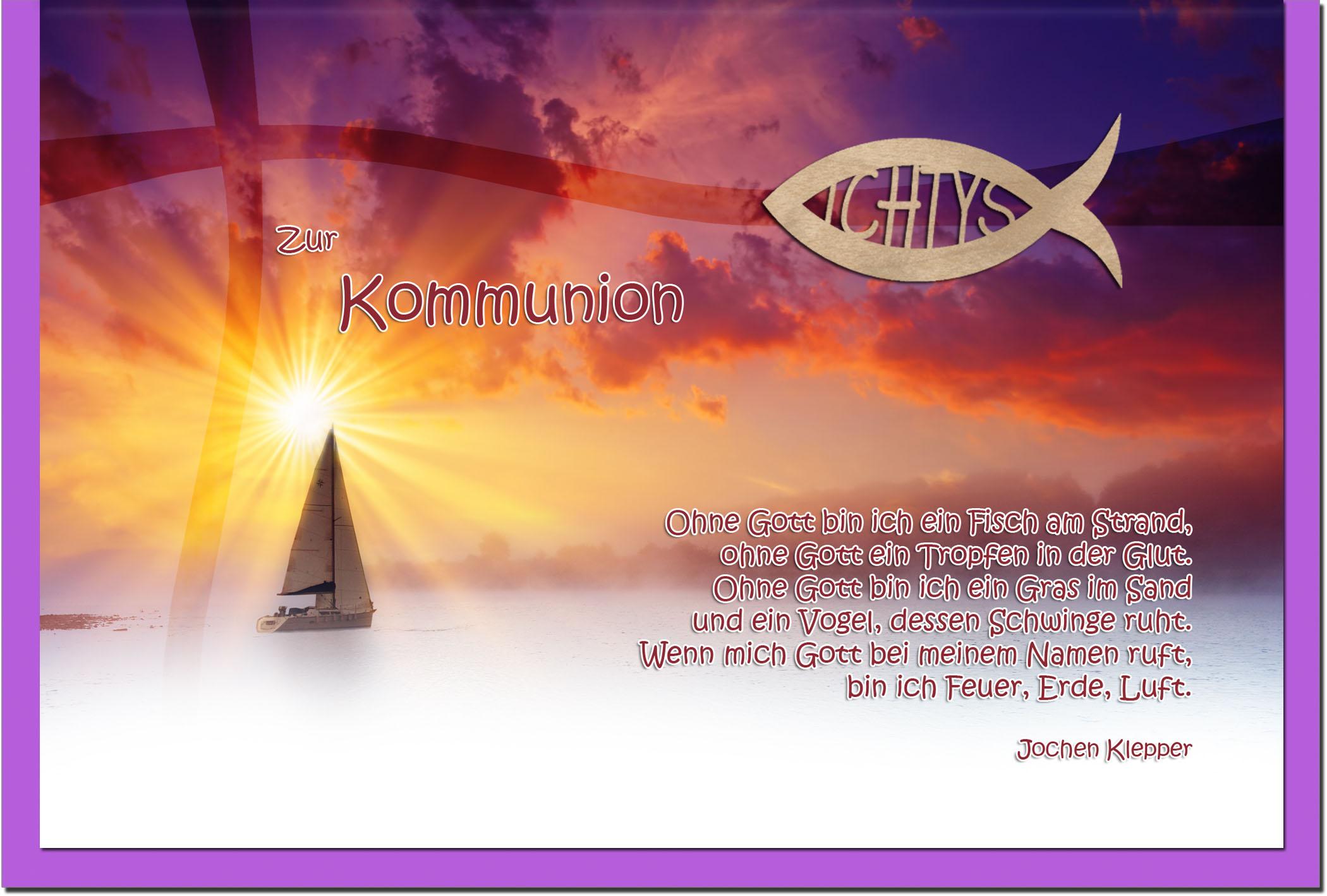 Kommunionskarten / Grußkarten / Glückwunschkarten /Kommunion Segelboot