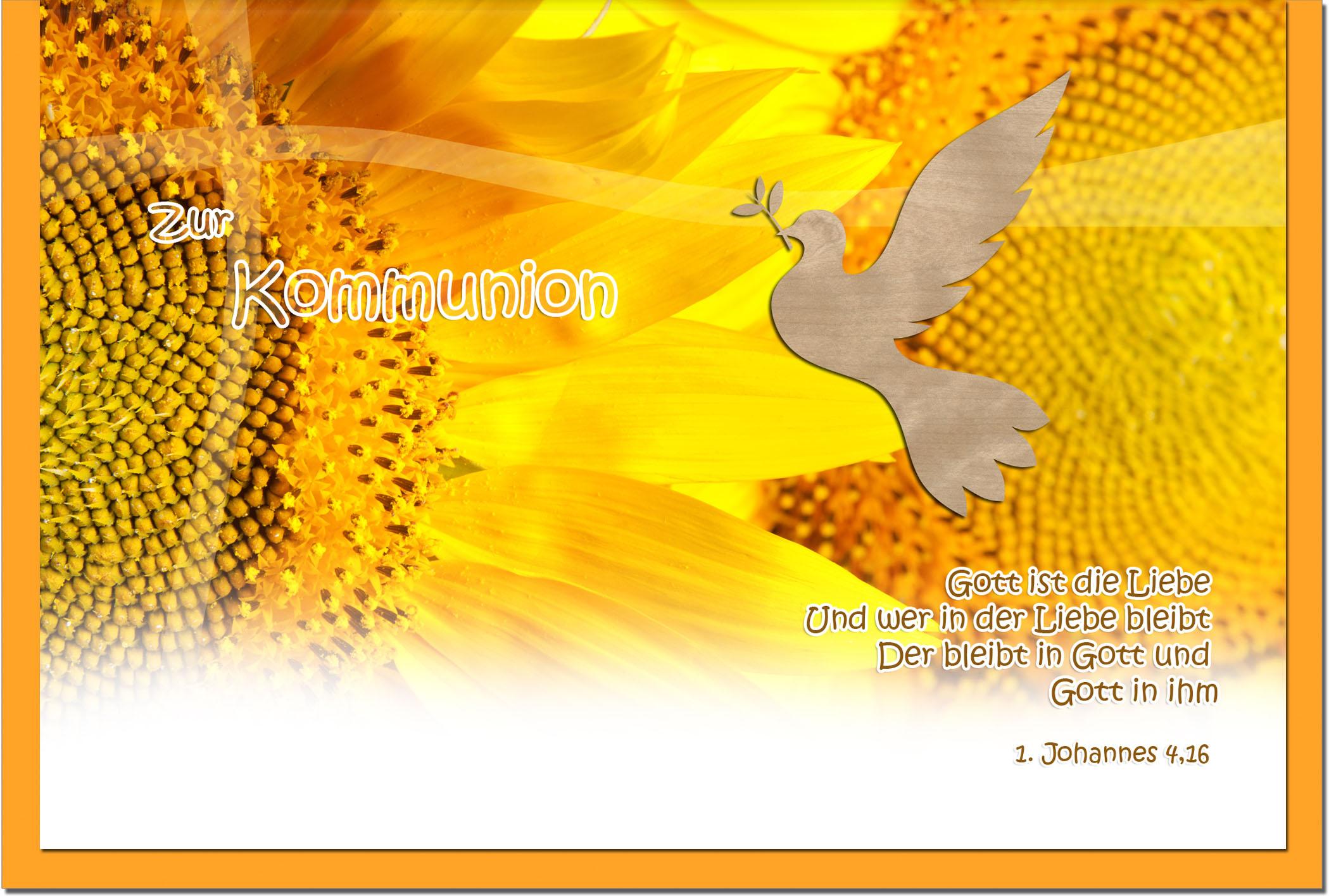 Kommunionskarten / Grußkarten / Glückwunschkarten /Kommunion Sonnenblume