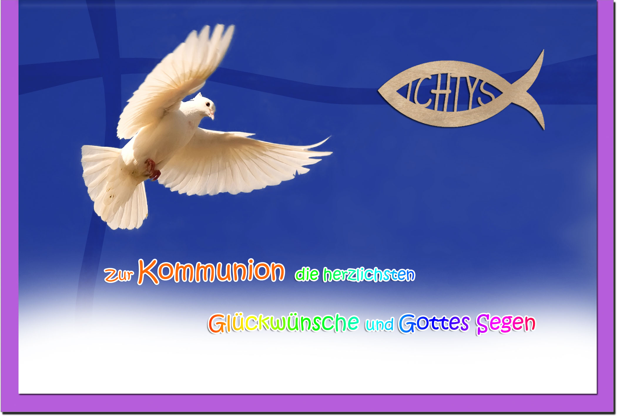 Kommunionskarten / Grußkarten / Glückwunschkarten /Kommunion Möwe