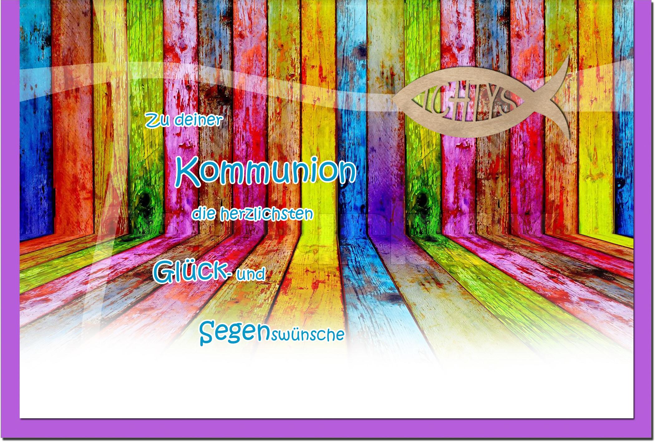 Kommunionskarten / Grußkarten / Glückwunschkarten /Kommunion Buntes Holz