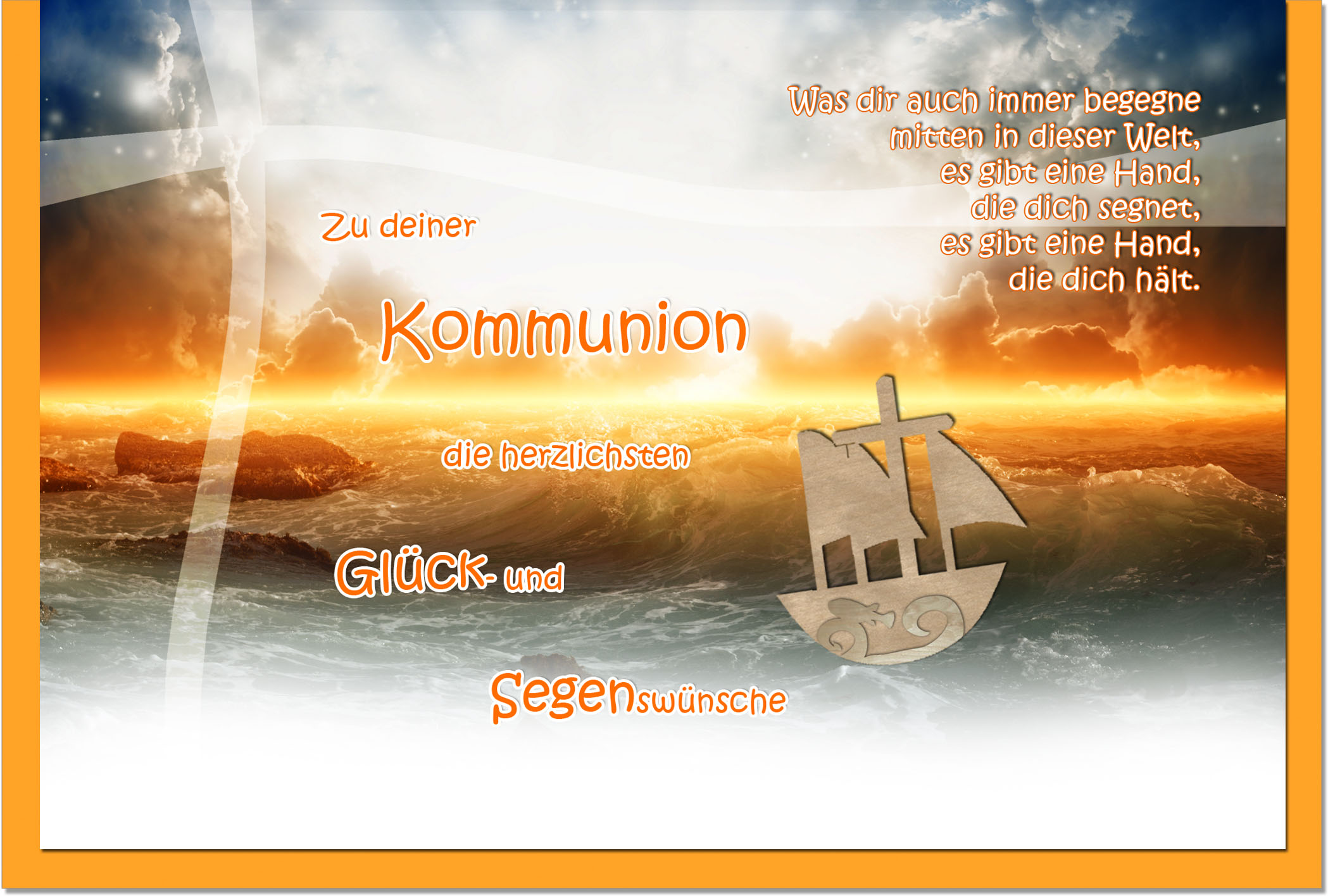 Kommunionskarten / Grußkarten / Glückwunschkarten /Kommunion Meer
