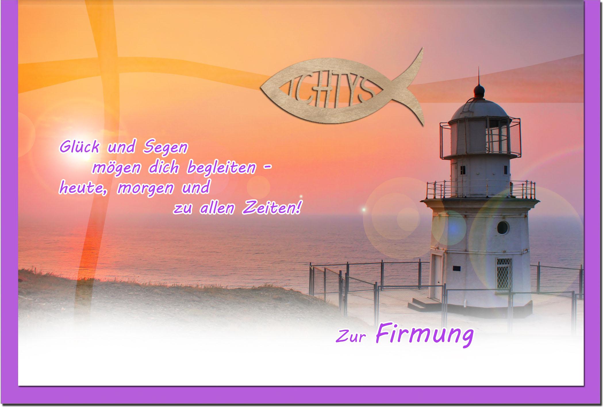Firmungskarten / Grußkarten / Glückwunschkarten /Firmung Leuchtturm