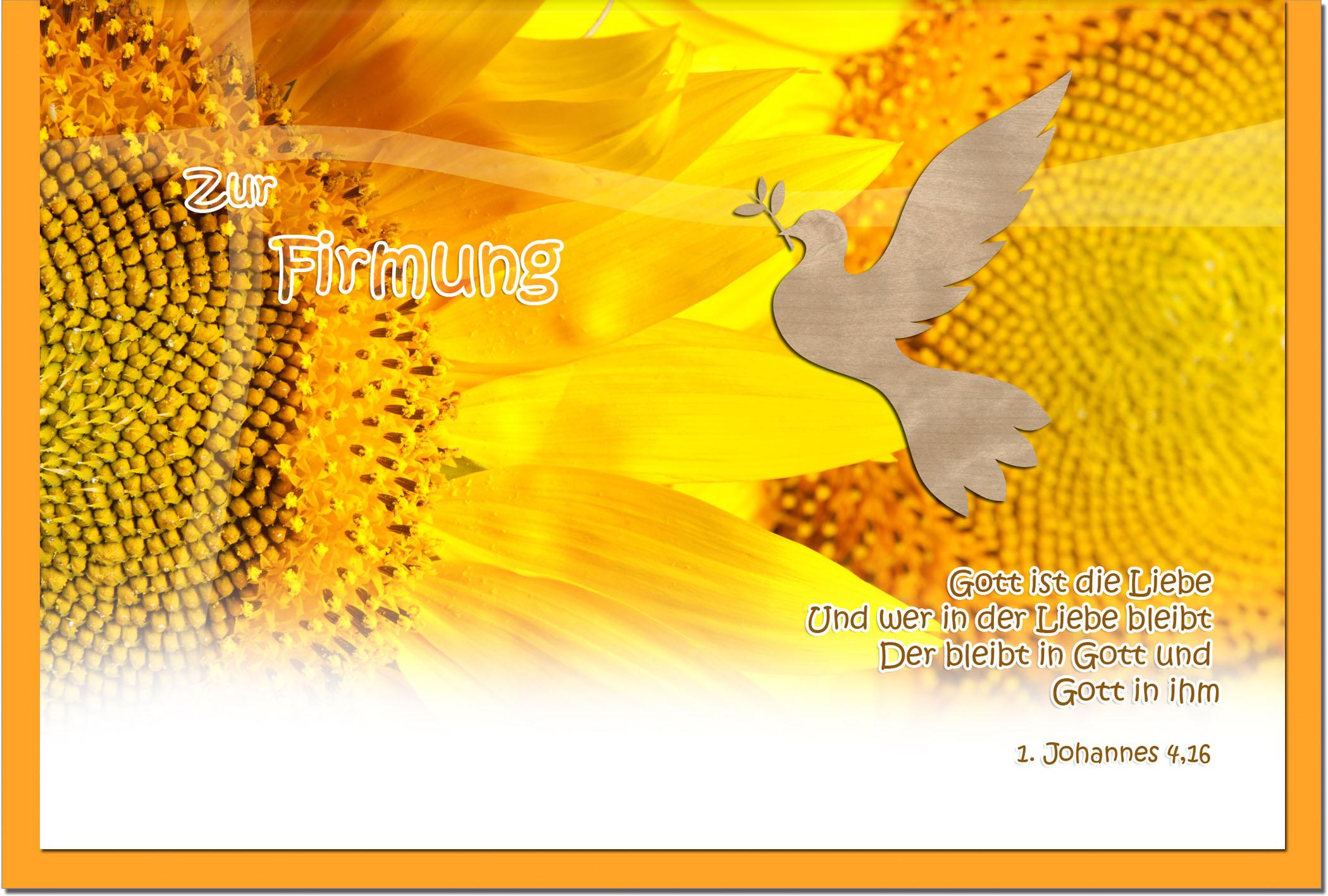Firmungskarten / Grußkarten / Glückwunschkarten /Firmung Sonnenblume