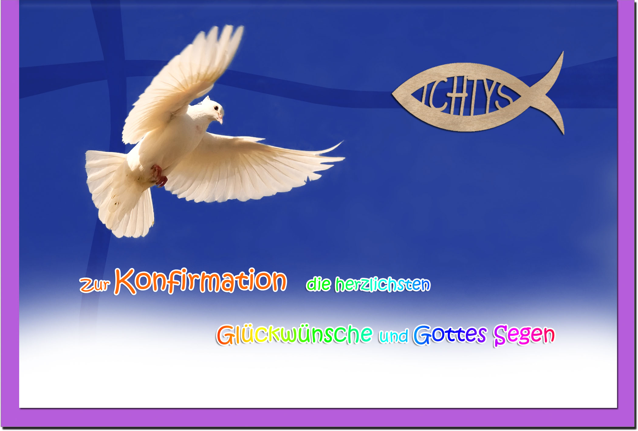 Konfirmationskarten / Grußkarten / Glückwunschkarten /Konfirmation Möwe