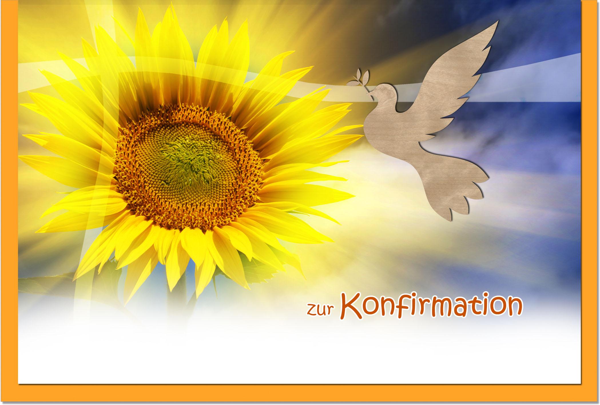 Konfirmationskarten / Grußkarten / Glückwunschkarten /Konfirmation Sonnenblume