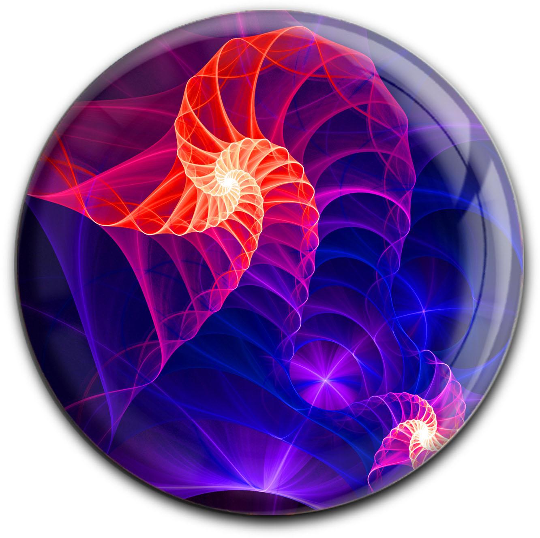 """metALUm Premium Magnet in runder Form """"Fraktal - Muster"""""""