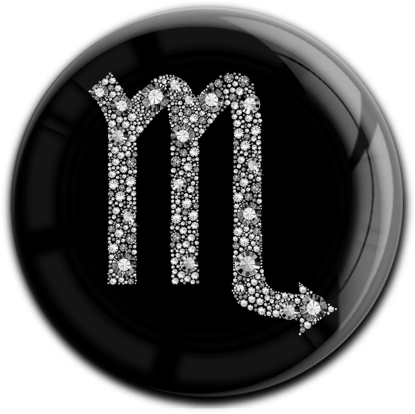 """metALUm Premium Magnet in runder Form """"Sternzeichen Skorpion in Silber"""""""