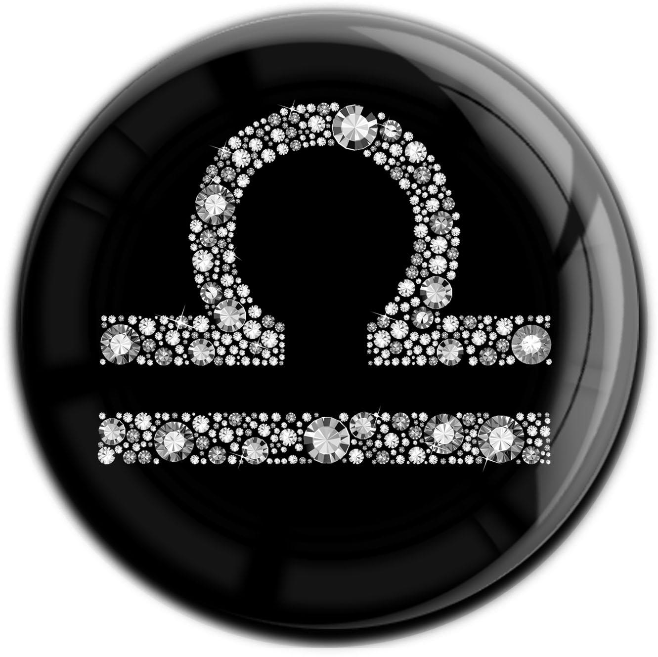 """metALUm Premium Magnet in runder Form """"Sternzeichen Waage in Silber"""""""