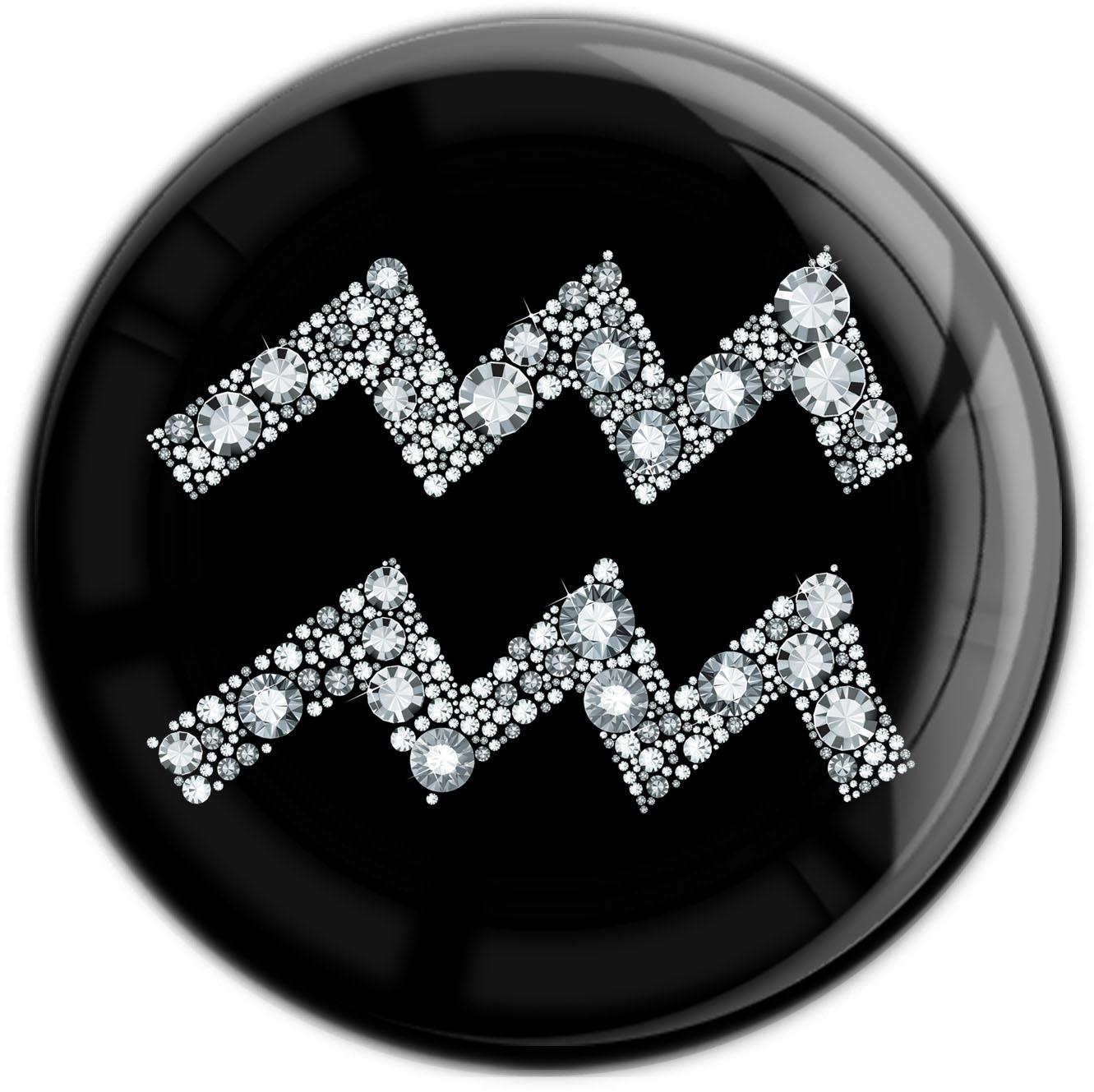 """metALUm Premium Magnet in runder Form """"Sternzeichen Wassermann in Silber"""""""