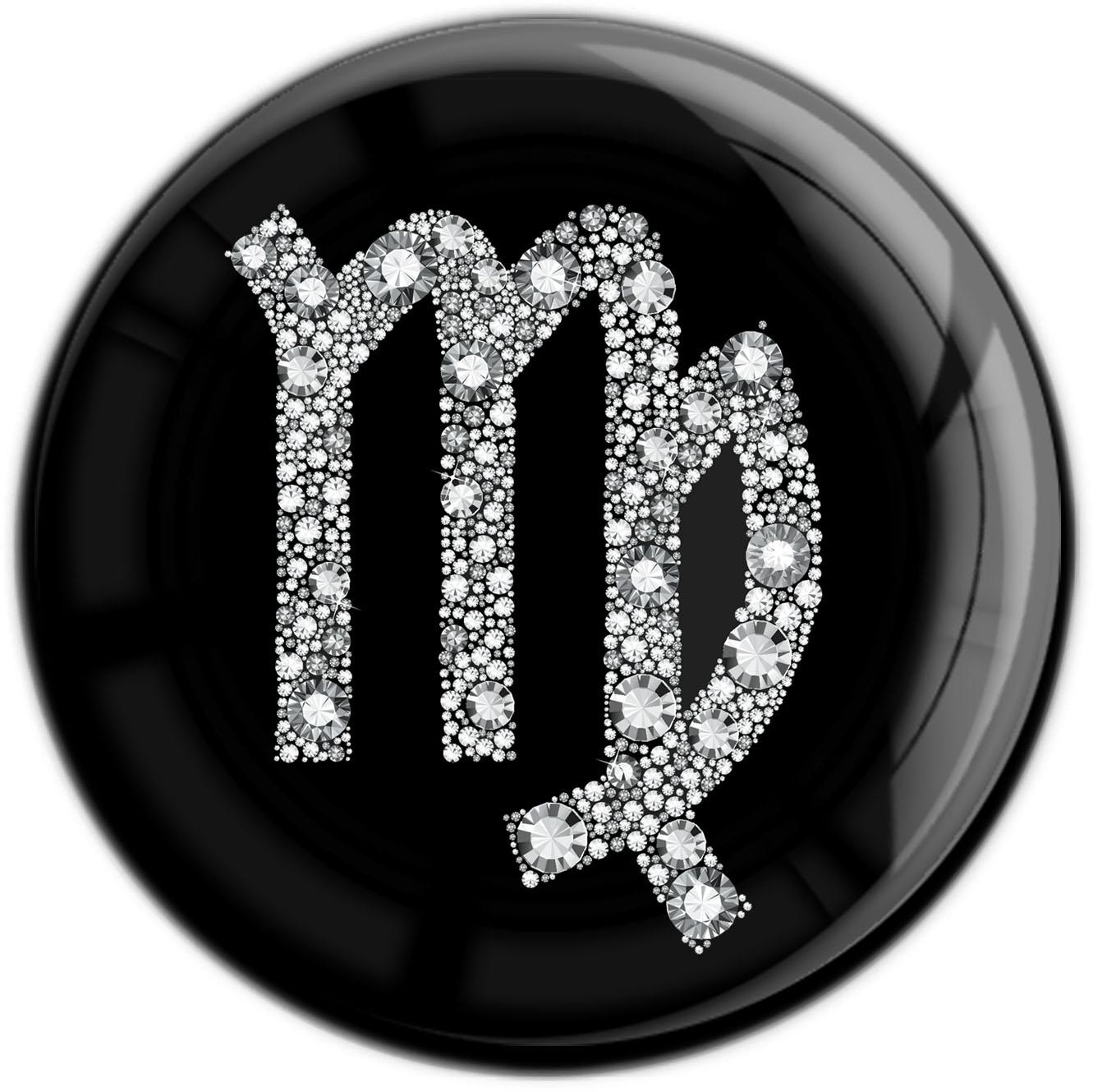 "metALUm Premium Magnet in runder Form ""Sternzeichen Jungfrau in Silber"""