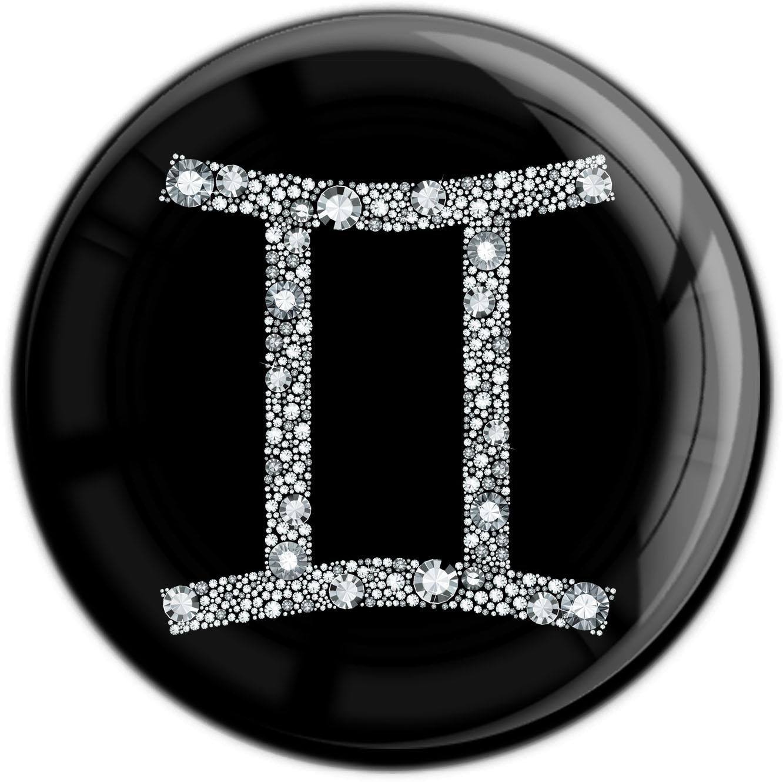 """metALUm Premium Magnet in runder Form """"Sternzeichen Zwilling in Silber"""""""