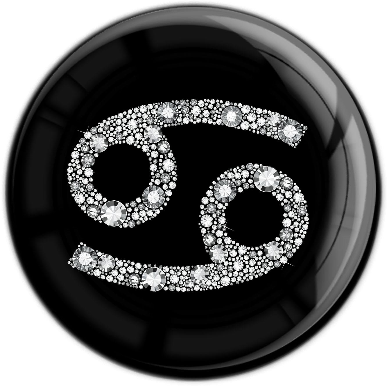 """metALUm Premium Magnet in runder Form """"Sternzeichen Krebs in Silber"""""""