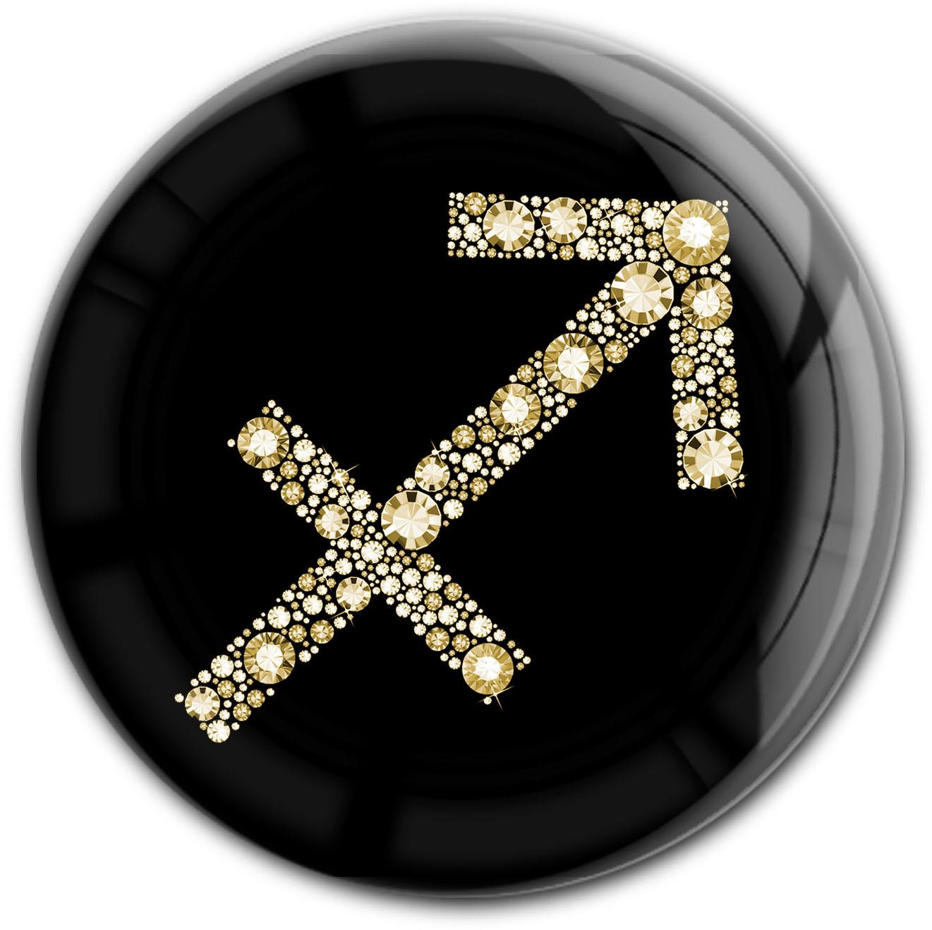 """metALUm Premium Magnet in runder Form """"Sternzeichen Schütze in Gold"""""""