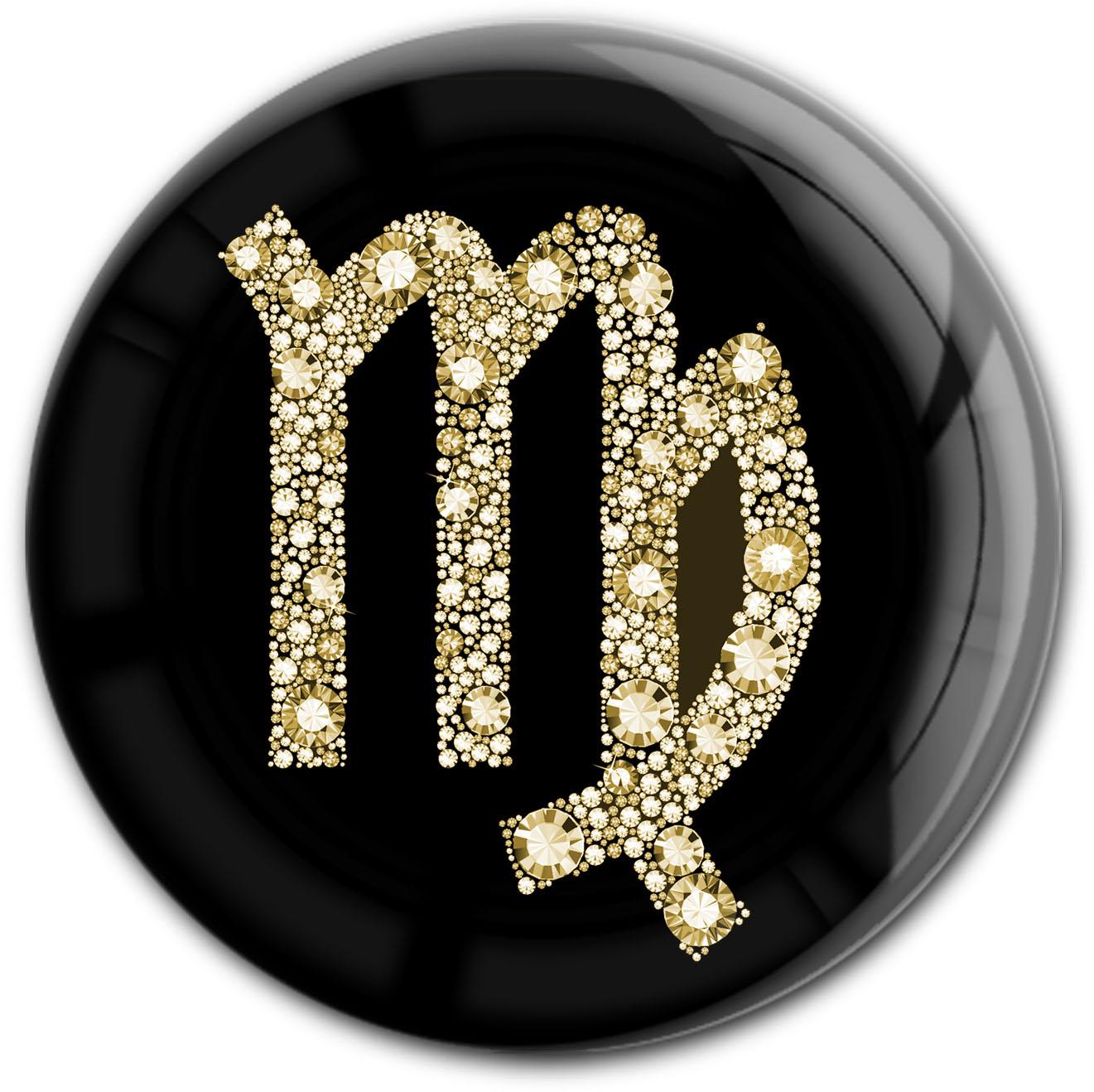 "metALUm Premium Magnet in runder Form ""Sternzeichen Jungfrau in Gold"""